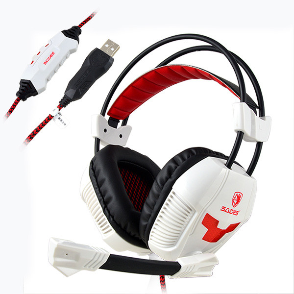 SADES® A30 USB Headband Gaming Headset With Microphone Wired Game Headphone for PC Laptop - White