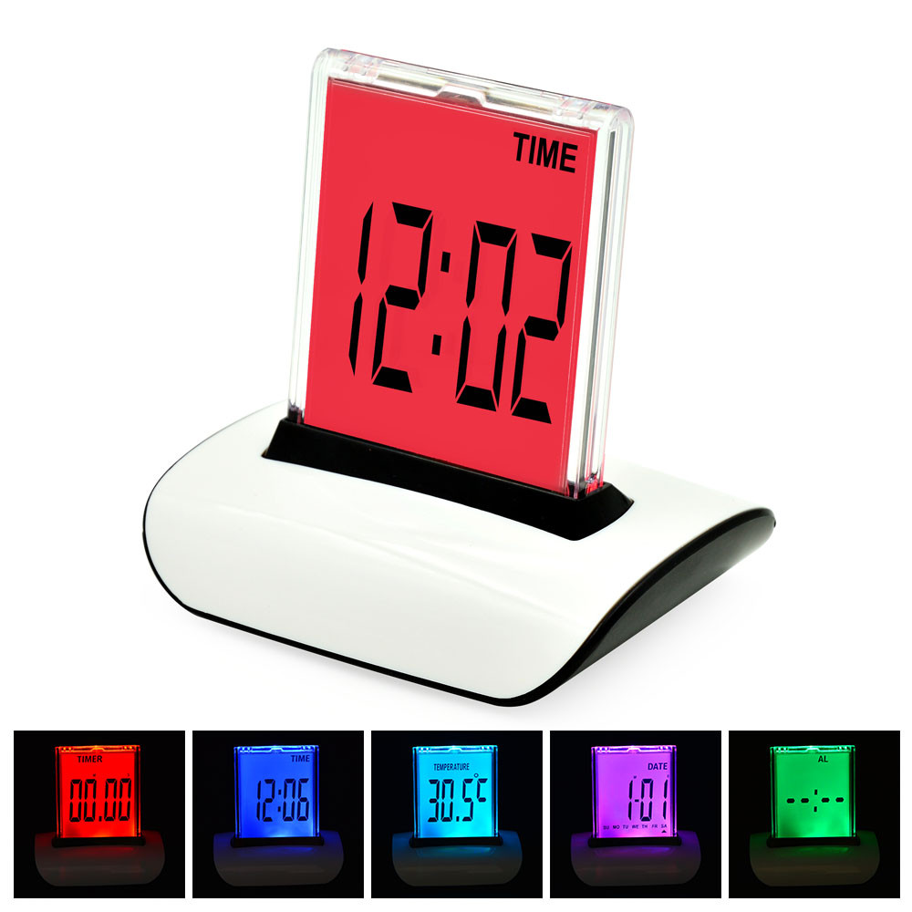 MENGS® 612 7 LED Change Colour Digital LCD Alarm Clock All-In-One Push The Panel / Time / Temperature / Date / Timer And Alarm Made Of ABS