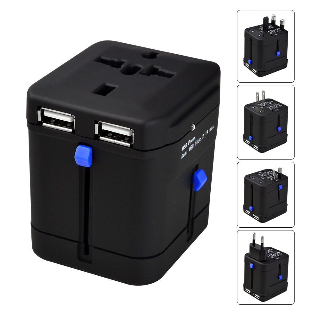 MENGS® USB 2.1A / DC 5V universal world travel plug all-in one AU / UK / US / EU with dual USB charger adapter