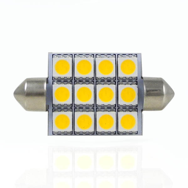 MENGS® SV8.5 2W LED Car Dome 12x 5050 SMD LEDs LED Festoon Interior Light Bulb Lamp DC 12V In Warm White Energy-saving Lamp