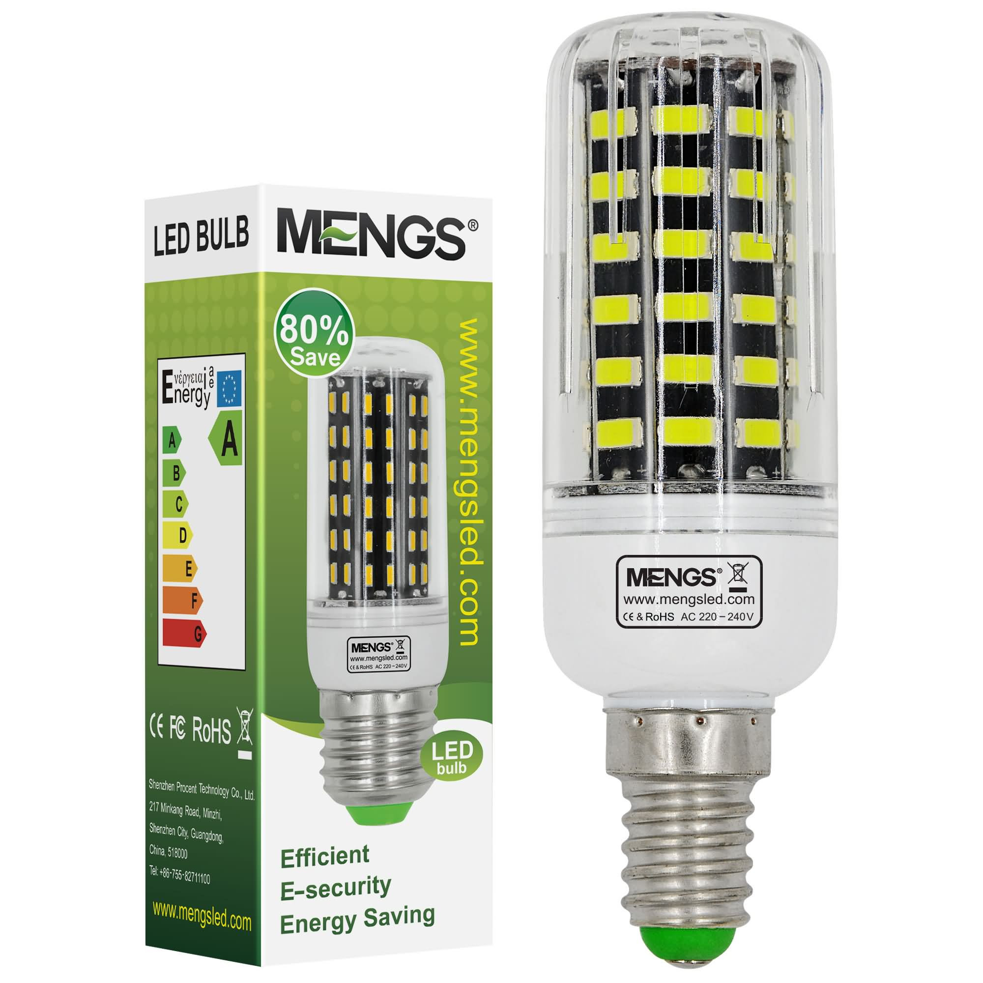 MENGS® E14 9W LED Corn Light 64x 5733 SMD LED Bulb Lamp In Cool White Energy-Saving Light