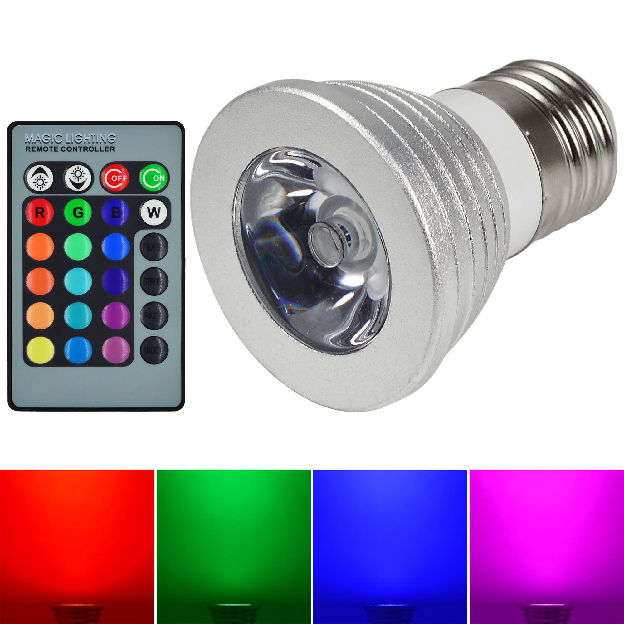 MENGS® E27 3W LED RGB Light 16 Colour changing SMD LEDs LED Spotlight lamp Bulb with IR Remote Control - multicolor Dimmable