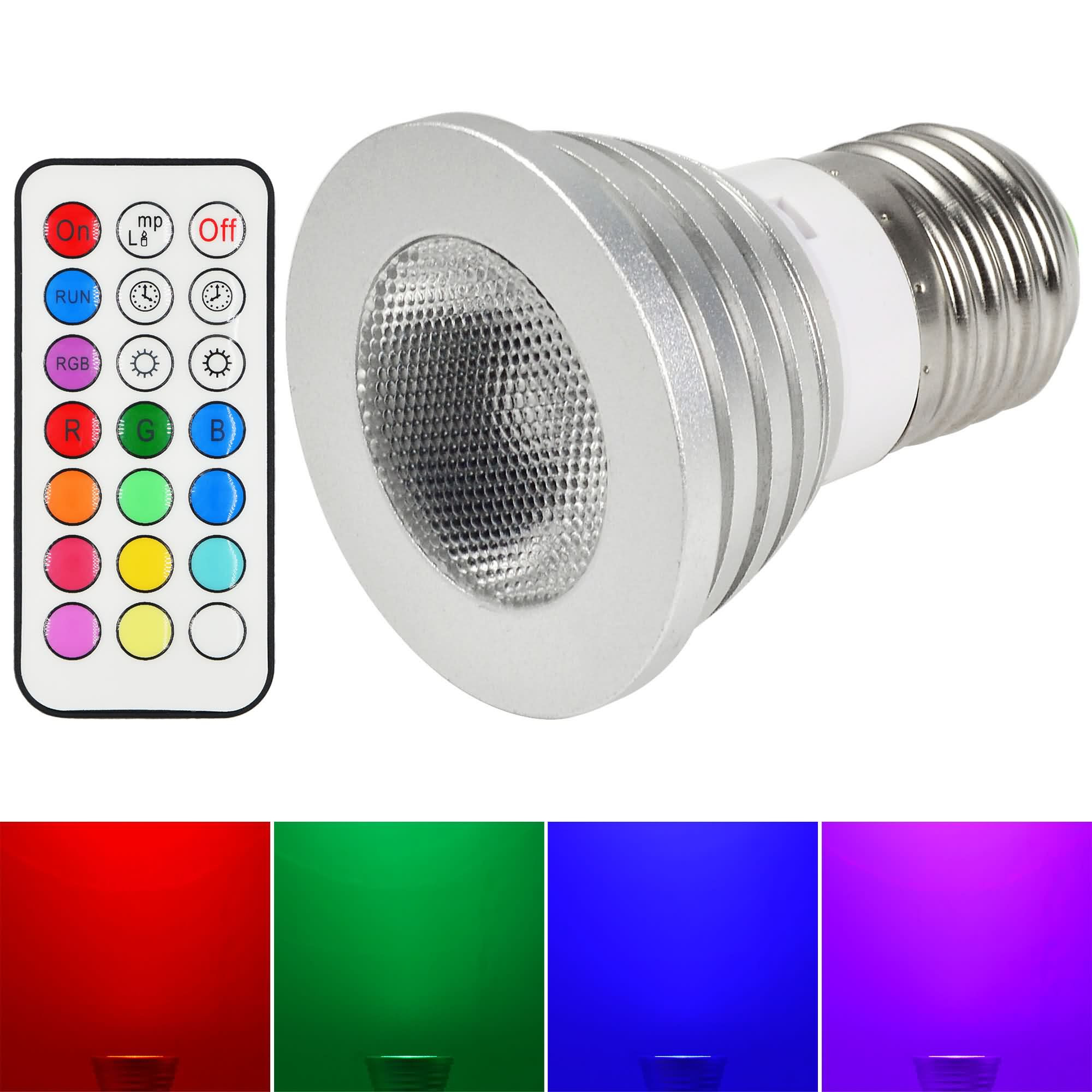 MENGS® E27 4W LED RGB Light 16 Colour changing SMD LEDs LED Spotlight lamp Bulb with IR Remote Control - multicolor Dimmable