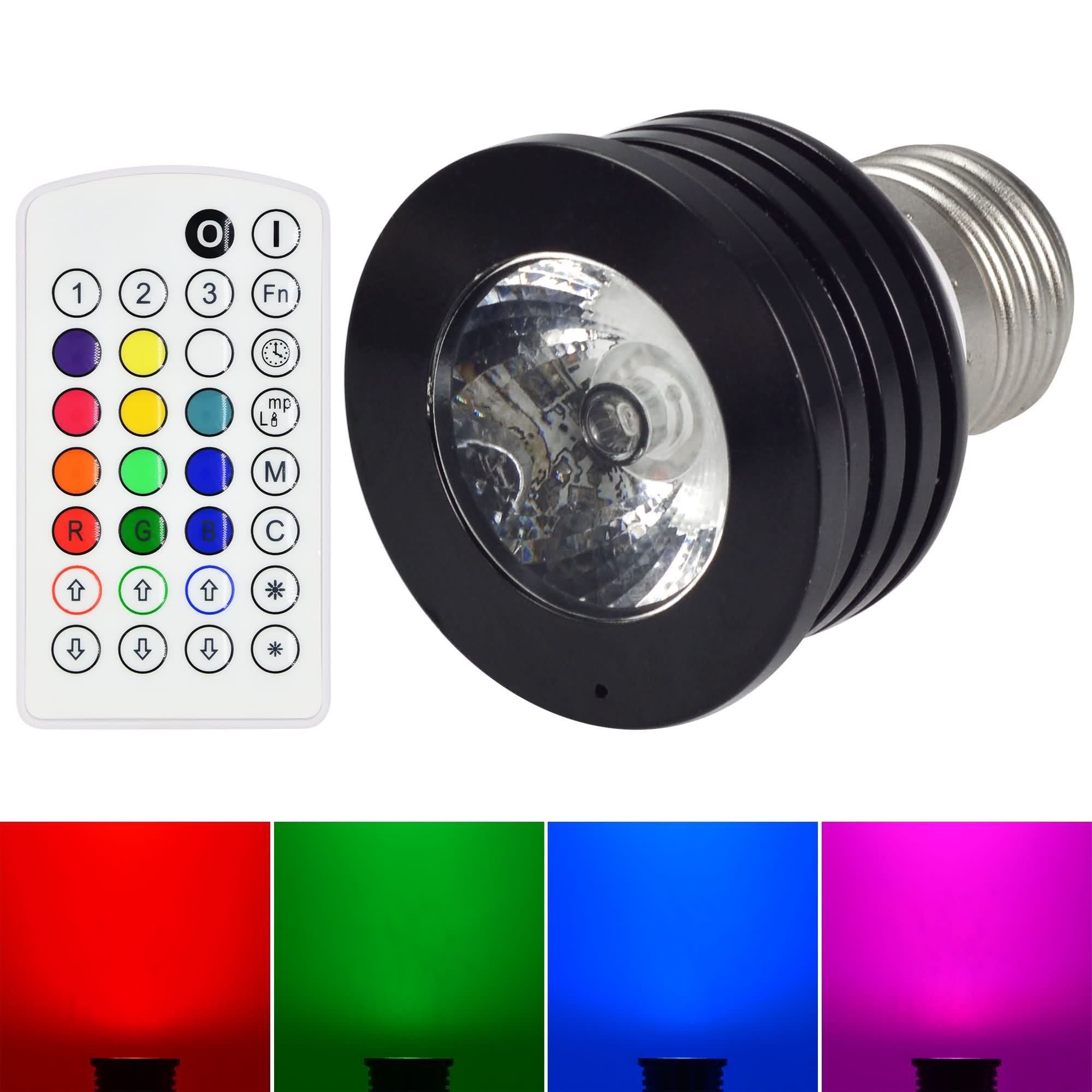 MENGS® E27 4W RGB Spotlight LED Bulb Music Control Change Color With IR Remote Controller
