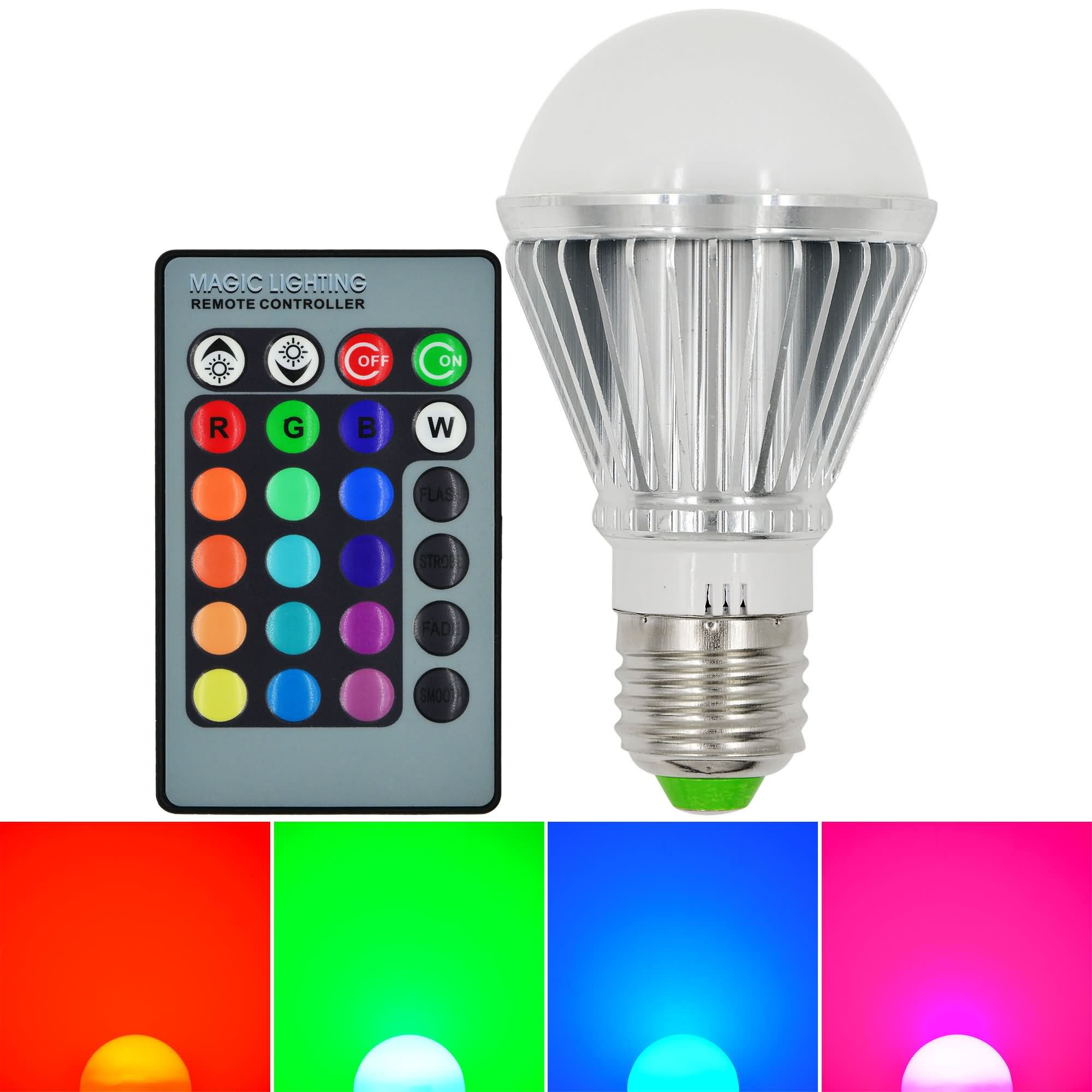 MENGS® E27 9W LED RGB Light 16 Colour changing SMD LEDs LED Globe lamp Bulb with IR Remote Control - multicolor Dimmable
