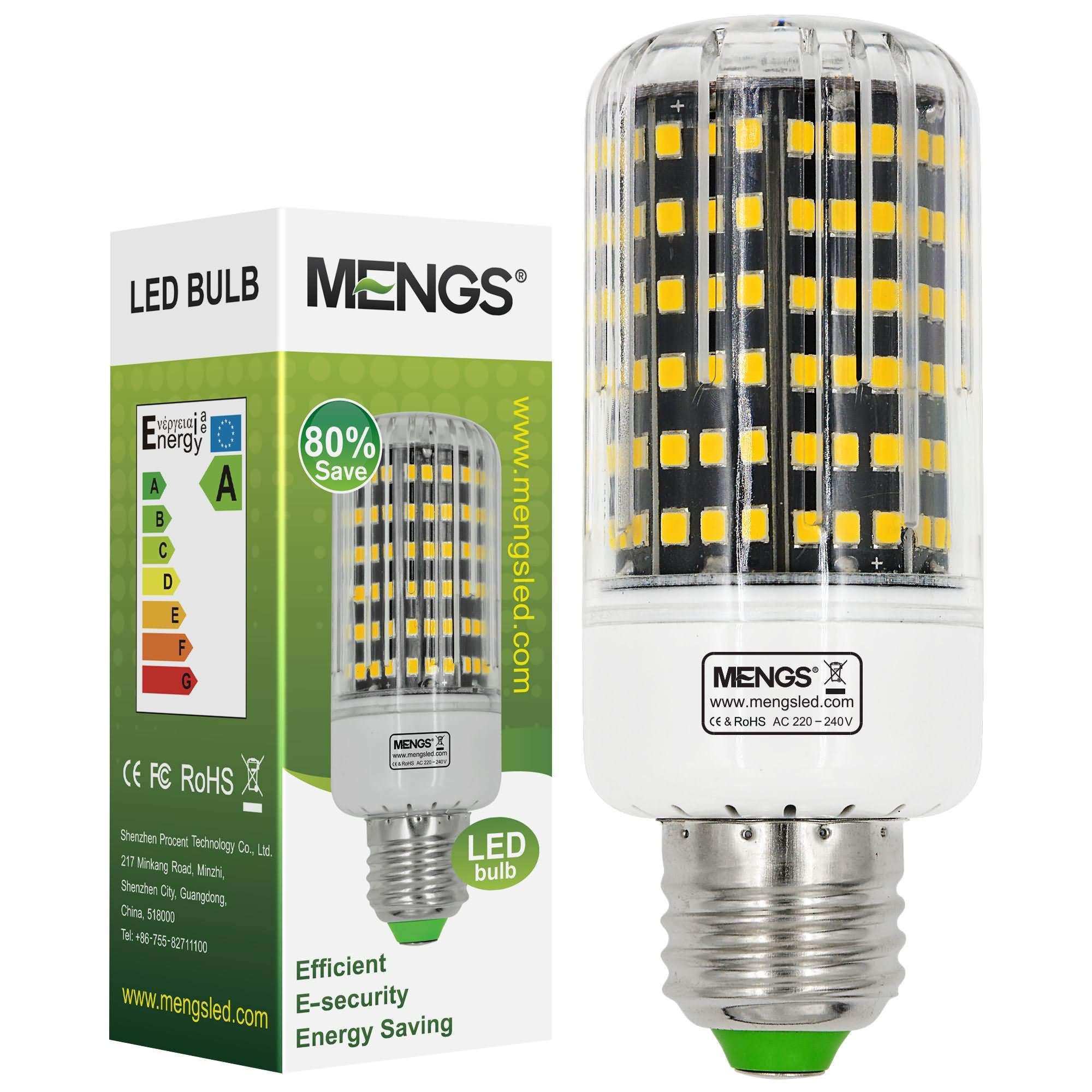 MENGS® E27 15W LED Corn Light 162x 2835 SMD LED Bulb Lamp With Aluminum Plate In Warm White Energy-Saving Light