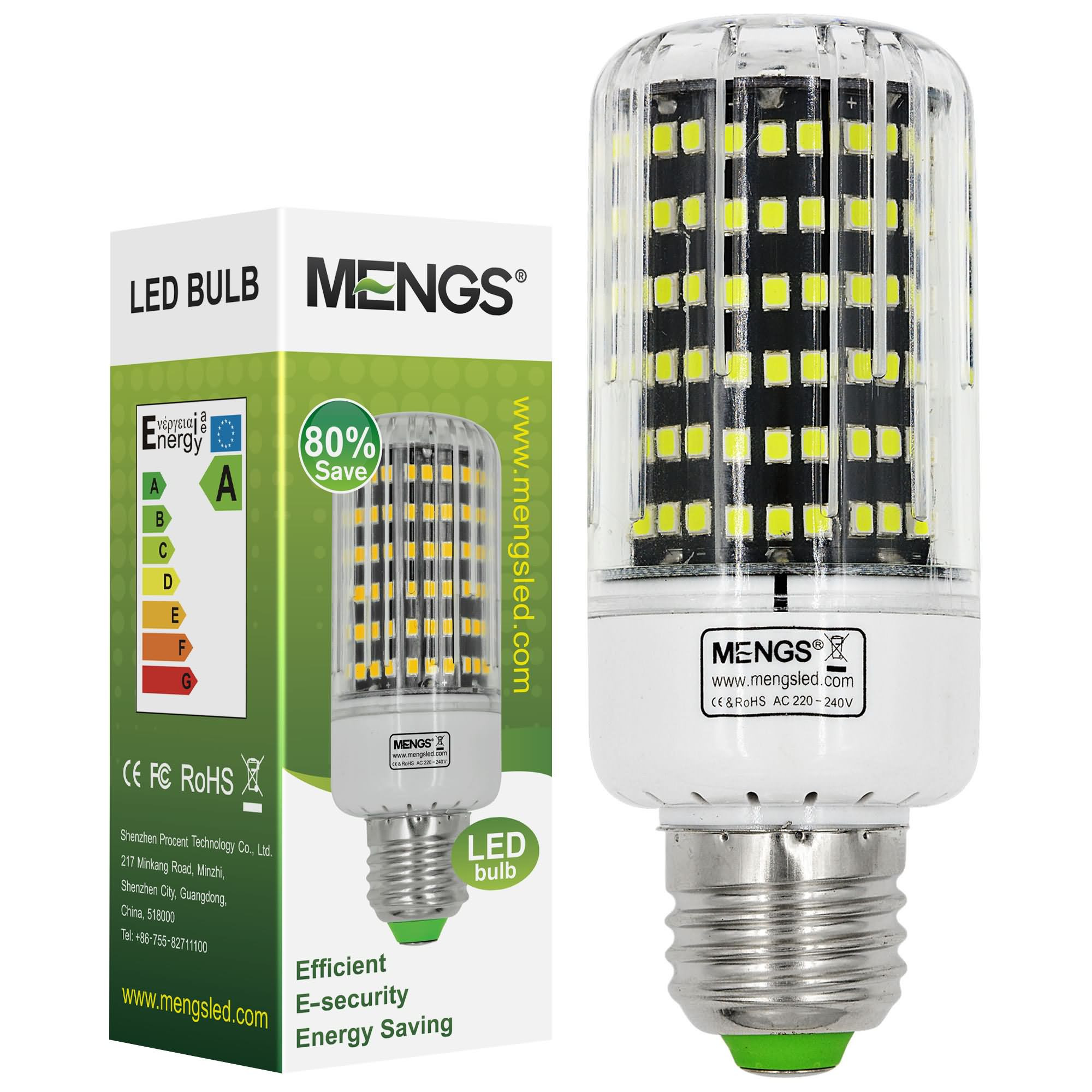 MENGS® E27 15W LED Corn Light 162x 2835 SMD LED Bulb Lamp With Aluminum Plate In Cool White Energy-Saving Light