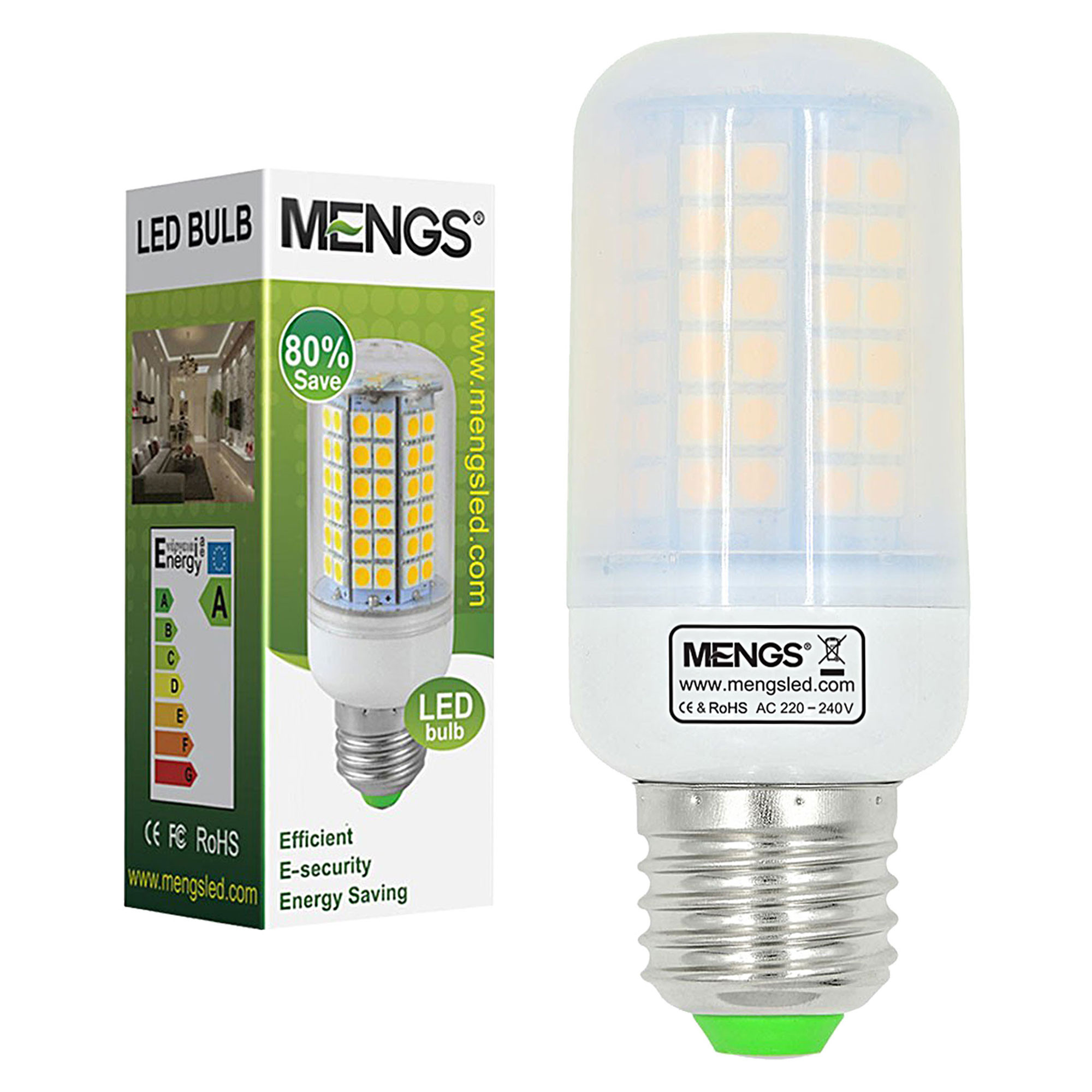 MENGS® E27 12W LED Corn Light 96x 5050 SMD LED Lamp Bulb in Warm White Energy-Saving Light