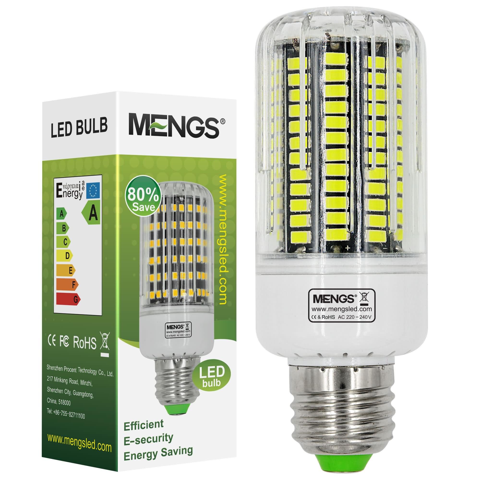 MENGS® E27 18W LED Corn Light 136x 5733 SMD LED Bulb Lamp In Cool White Energy-Saving Light