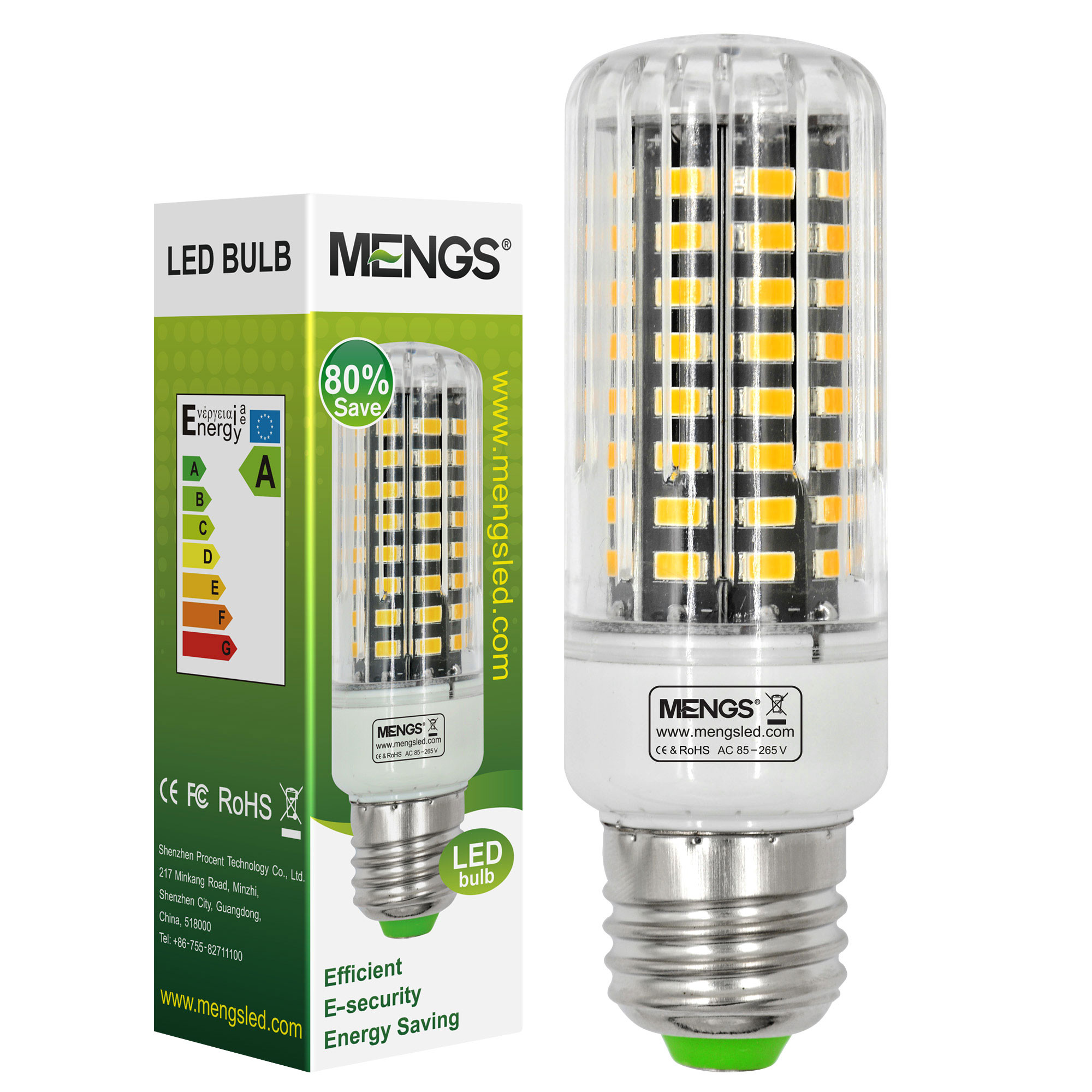 MENGS® Anti-Strobe E27 9W LED Corn Light 72x 5736 SMD LED Bulb Lamp In Warm White Energy-Saving Lamp