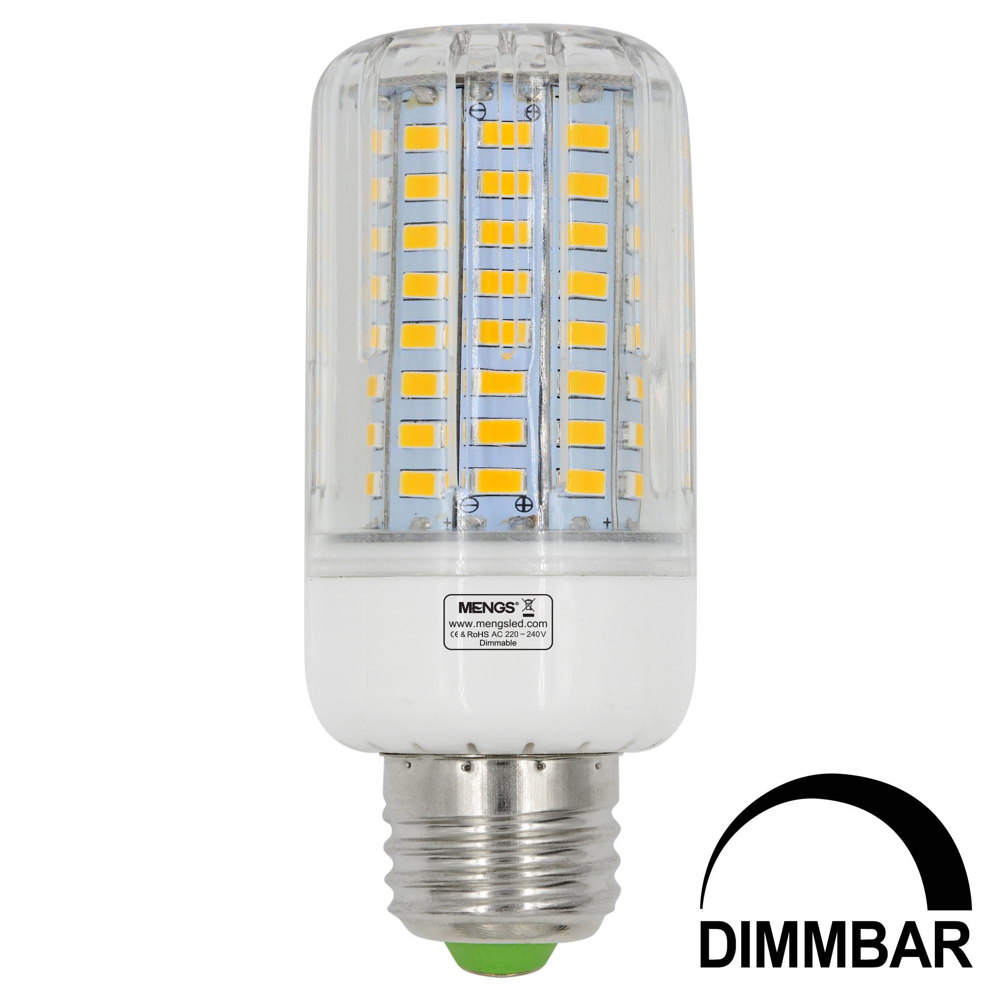 MENGS® E27 12W LED Dimmable Corn Light 96x 5736 SMD LED Bulb Lamp AC 220-240V In Cool White Energy-Saving Light