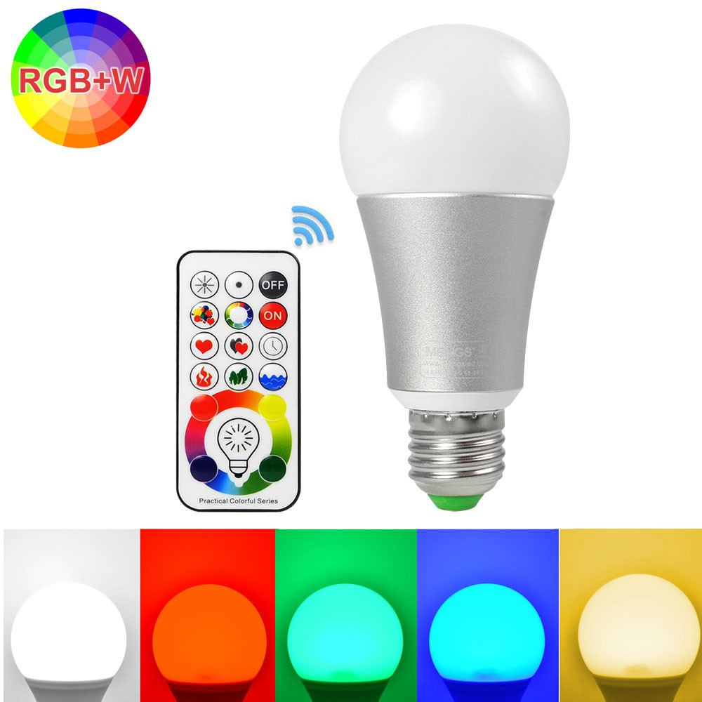 MENGS® RX-10036 120 Color Choices and Dual Memory E27 10W Dimmable LED RGB Light with Remote Control RGB AC 85-265V 9x LEDs + 3x RGB LEDs With Aluminum + PC
