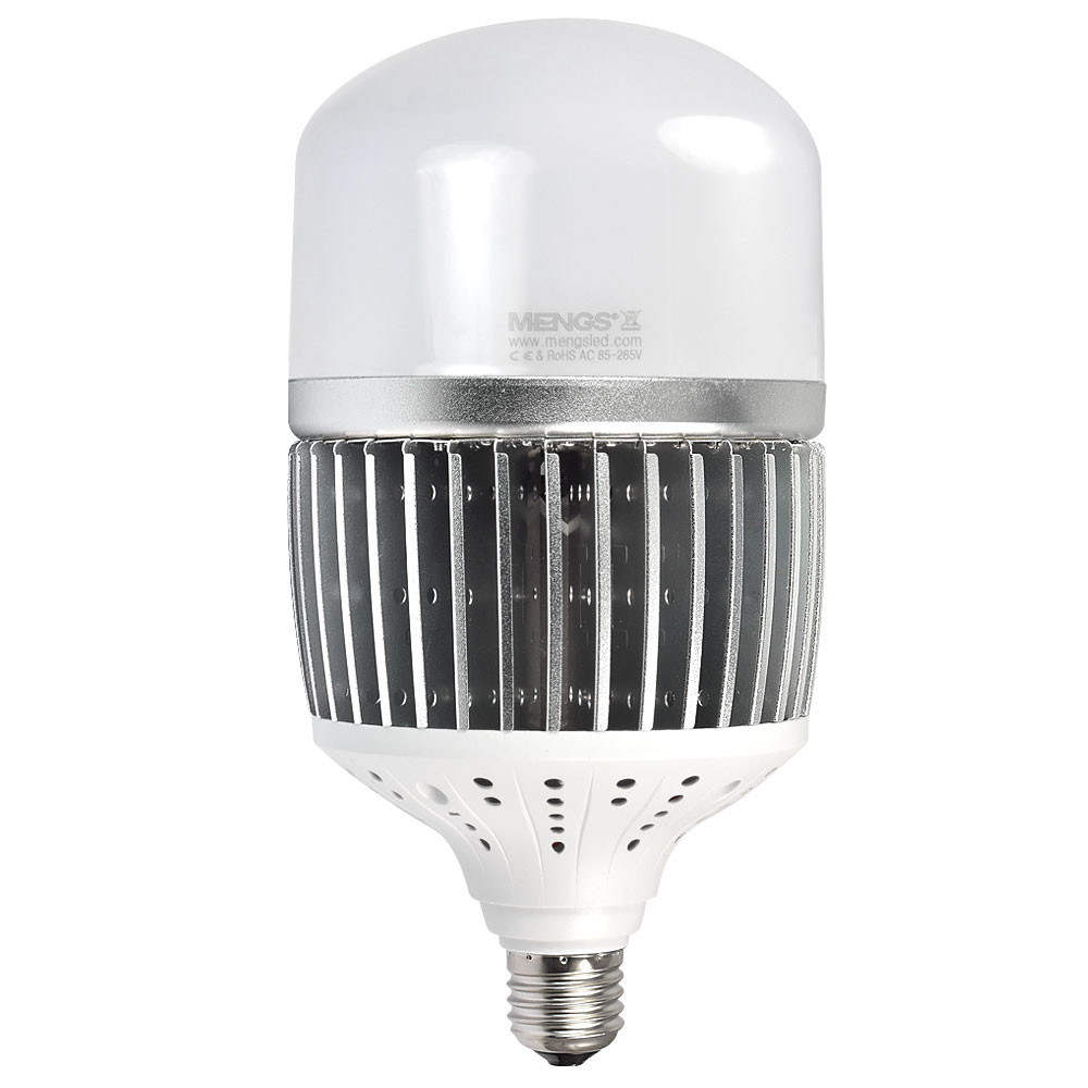MENGS® CL-Q50W High Lumens 50W = 400W LED Globe Light With Aluminum Fin + PC Cover Neutral White AC 85-265V 6500LM For Factory Warehouse Workshop Garage Backyard Supermarket Exhibition Hall Stadium -Silver
