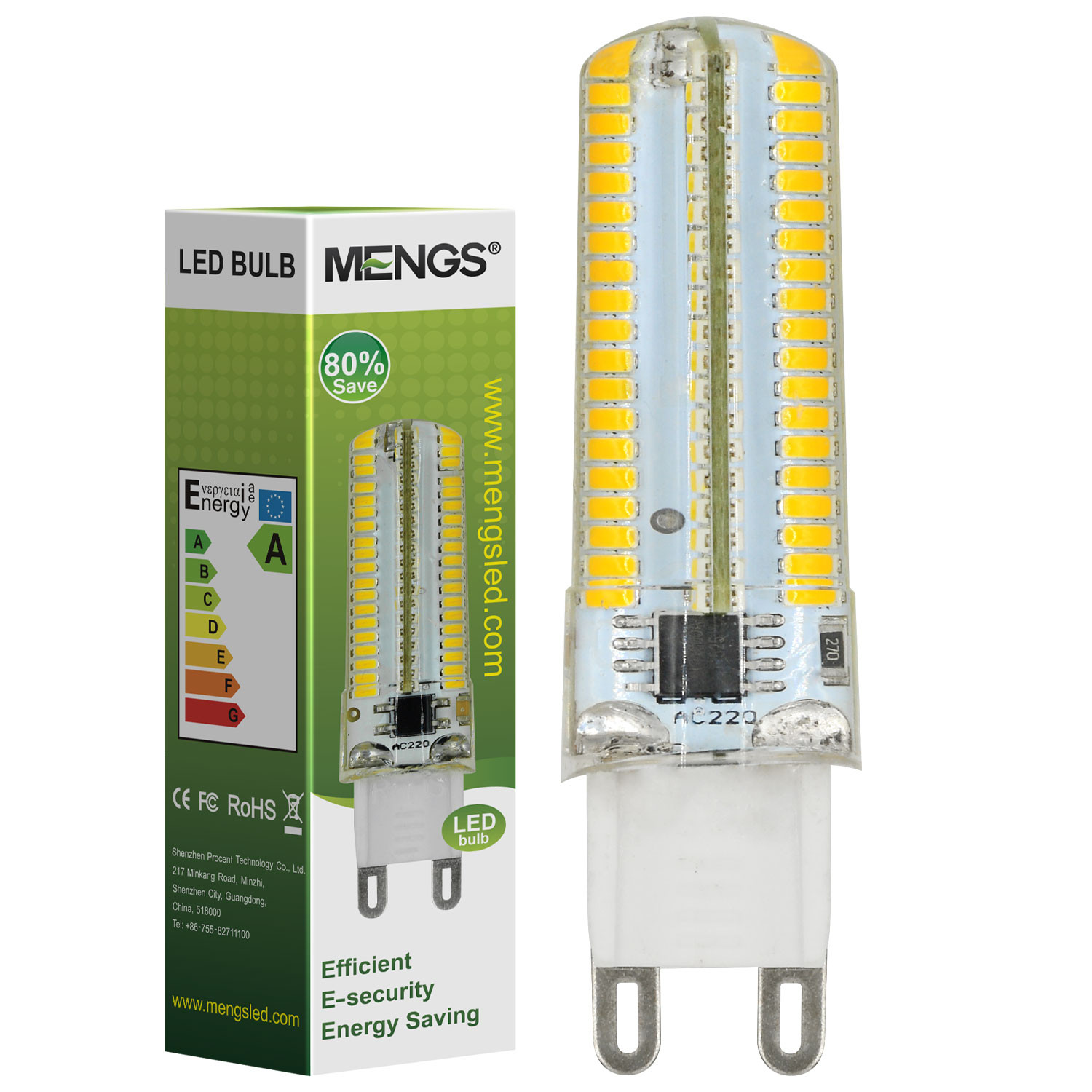 MENGS® G9 7W LED Light 152x 3014 SMD LEDs LED Lamp in Warm White Energy-Saving Light