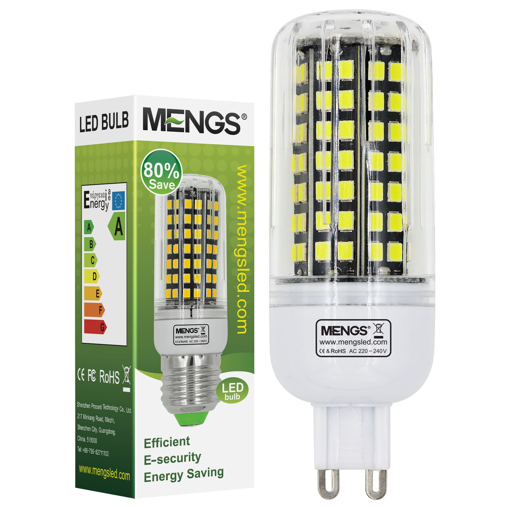 MENGS® G9 10W LED Corn Light 112x 2835 SMD LED Lamp With Aluminum Plate In Cool White Energy-Saving Light