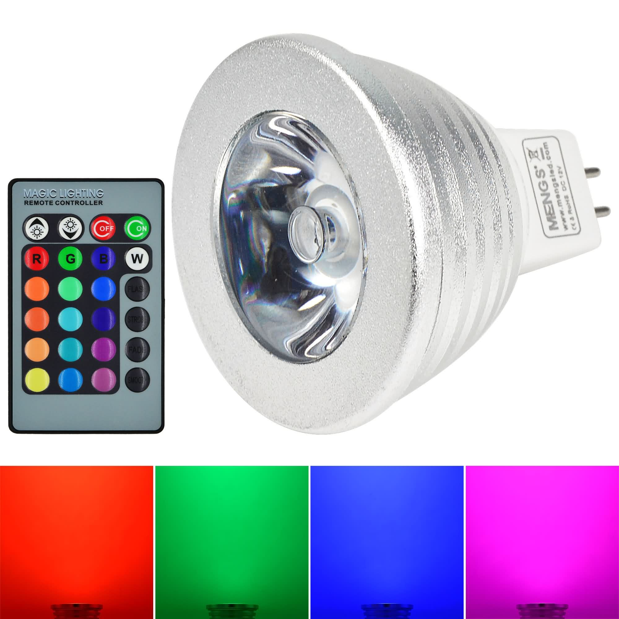 MENGS® MR16 3W LED RGB Light 16 Colour changing SMD LEDs LED Spotlight lamp Bulb with IR Remote Control - multicolor Dimmable