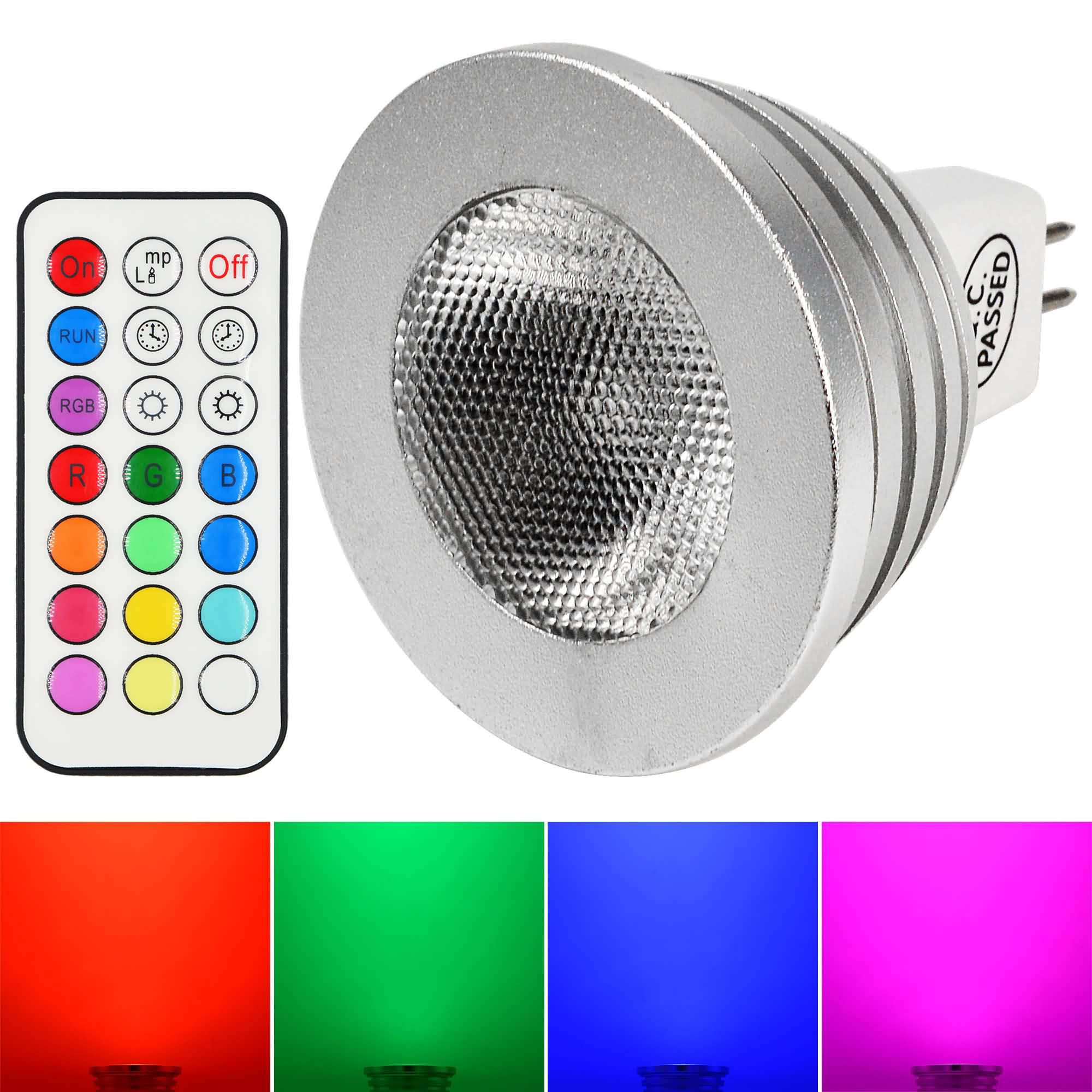 MENGS® MR16 4W LED RGB Light 16 Colour changing SMD LEDs LED Spotlight lamp Bulb with IR Remote Control - multicolor Dimmable