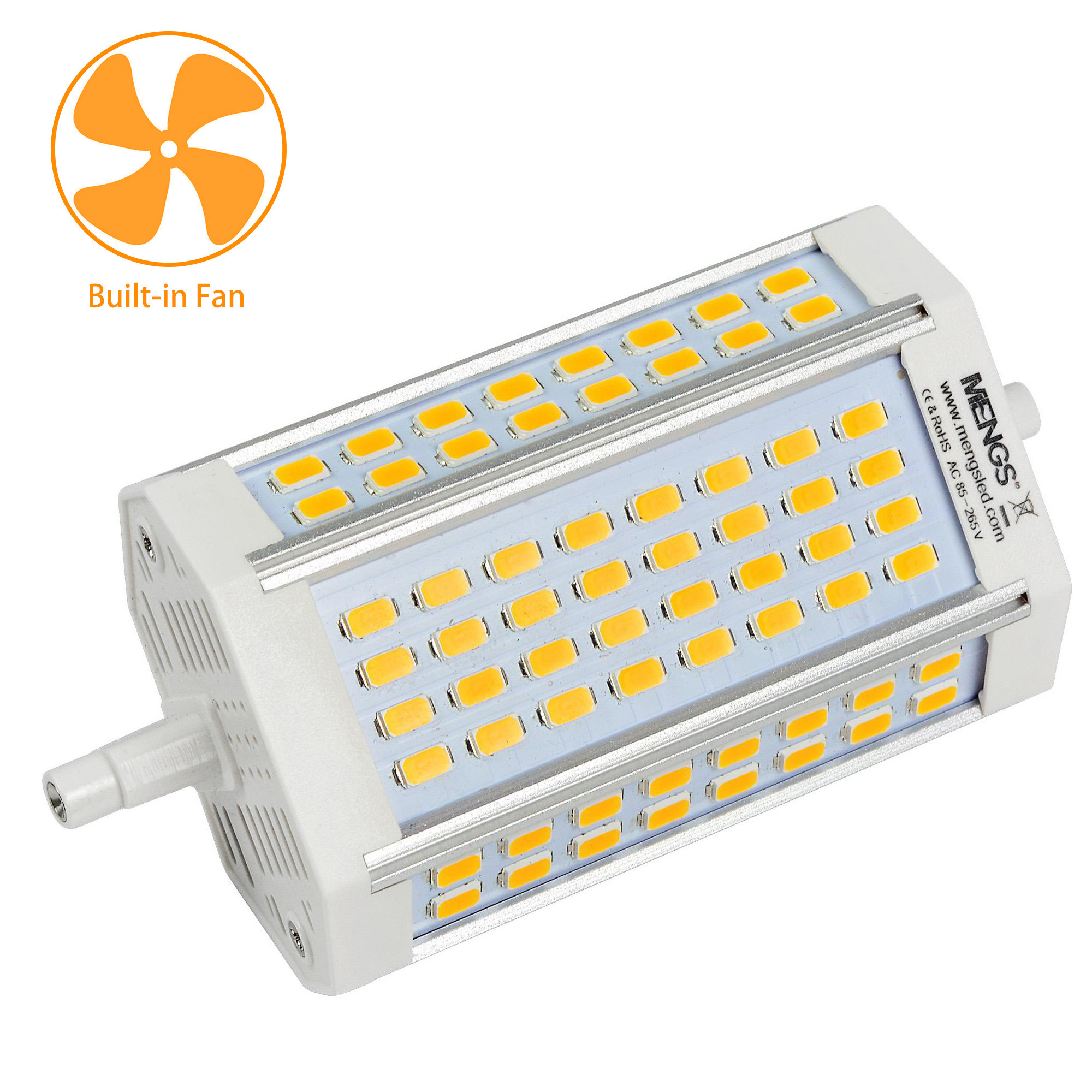MENGS® R7s 30W LED Flood Light 64x 5730 SMD With Cooling Fan LED Bulb Lamp AC 85-265V In Warm White Energy-Saving Light