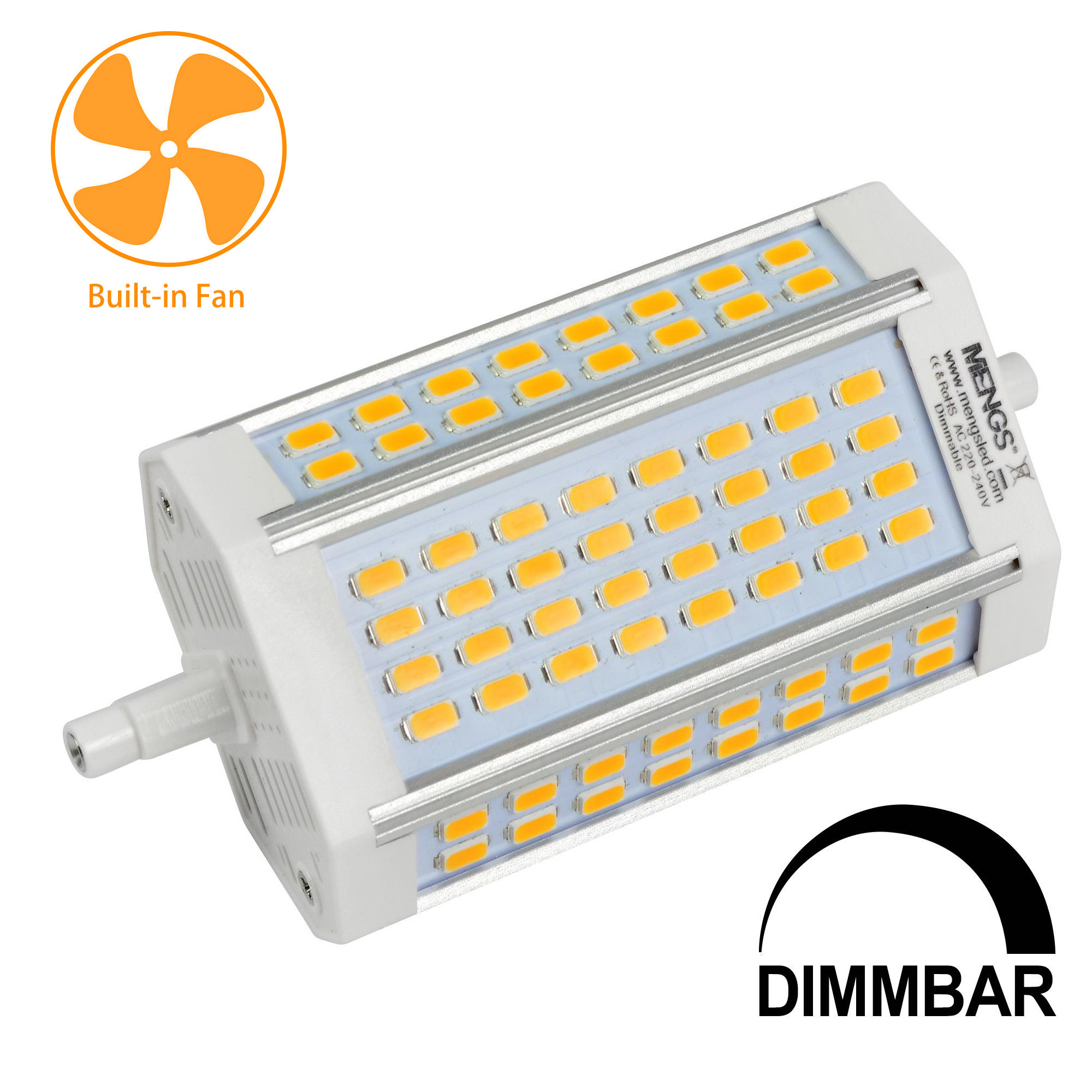 MENGS® R7s 30W LED Dimmable Flood Light 64x 5730 SMD With Cooling Fan LED Bulb Lamp AC 220-240V In Cool White Energy-Saving Light