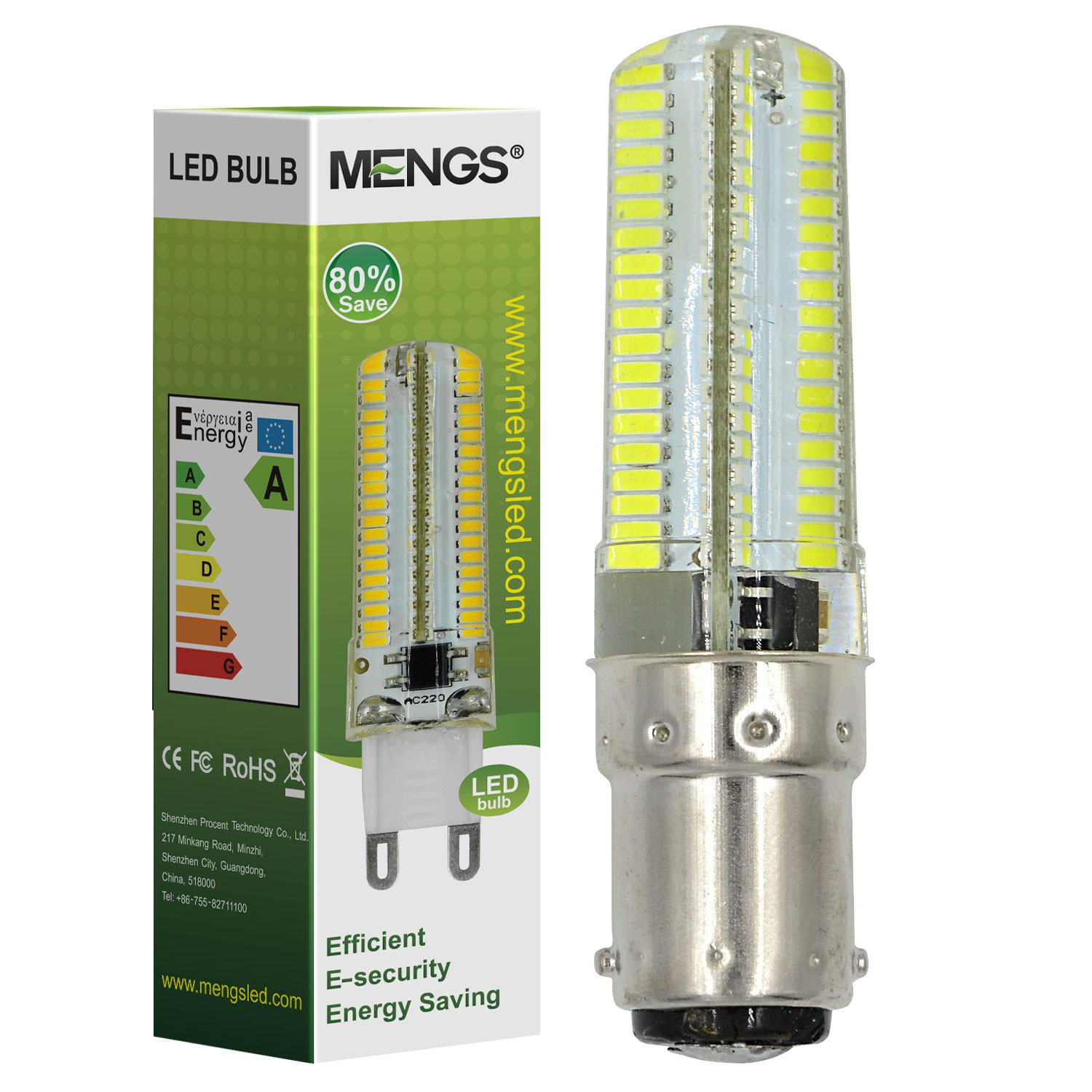 MENGS® B15D 5W LED Light 152x 3014 SMD LED Bulb Lamp In Cool White Energy-Saving Lamp