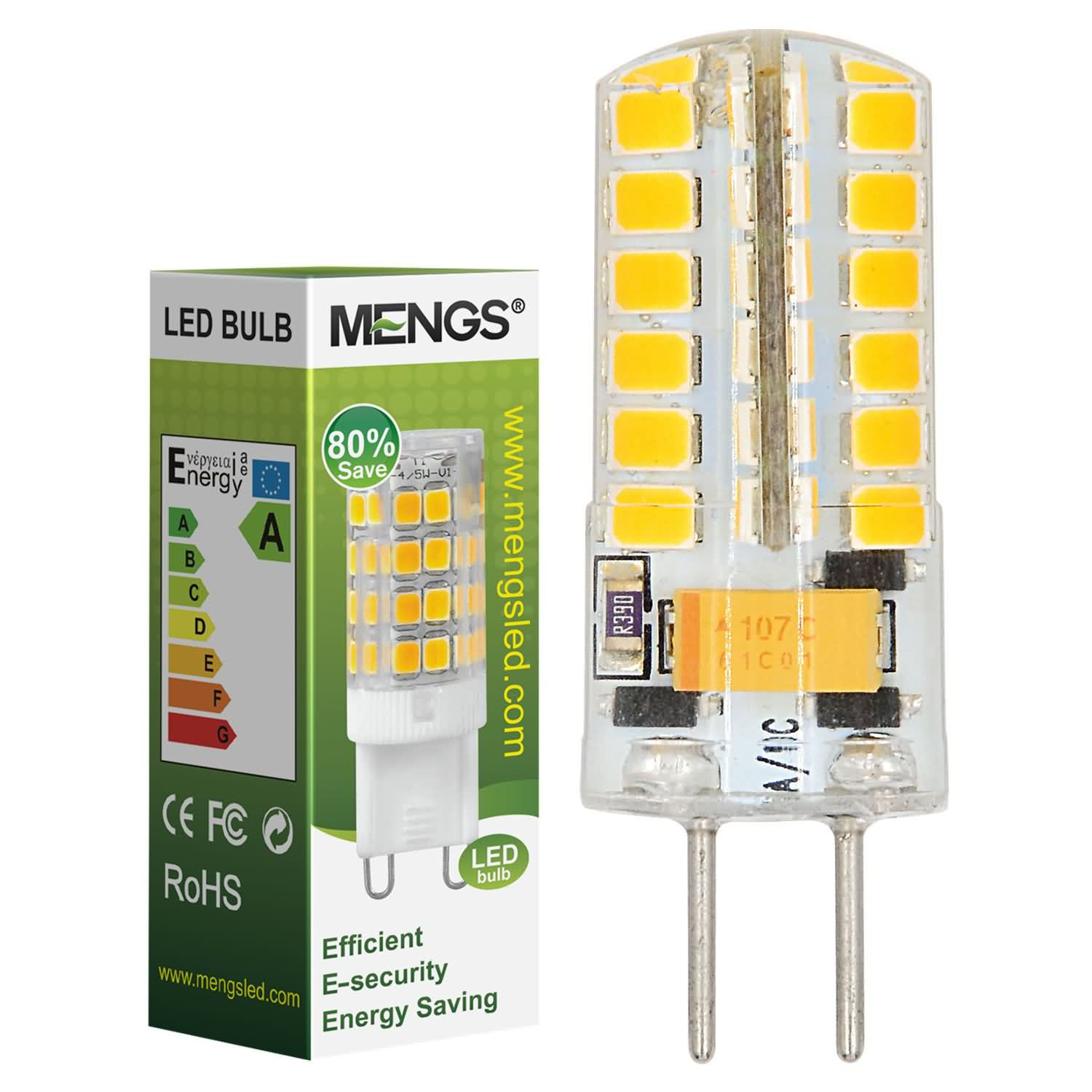 MENGS® GY6.35 4W LED Light 48x 2835 SMD LED Bulb Lamp In Warm White Energy-Saving Light