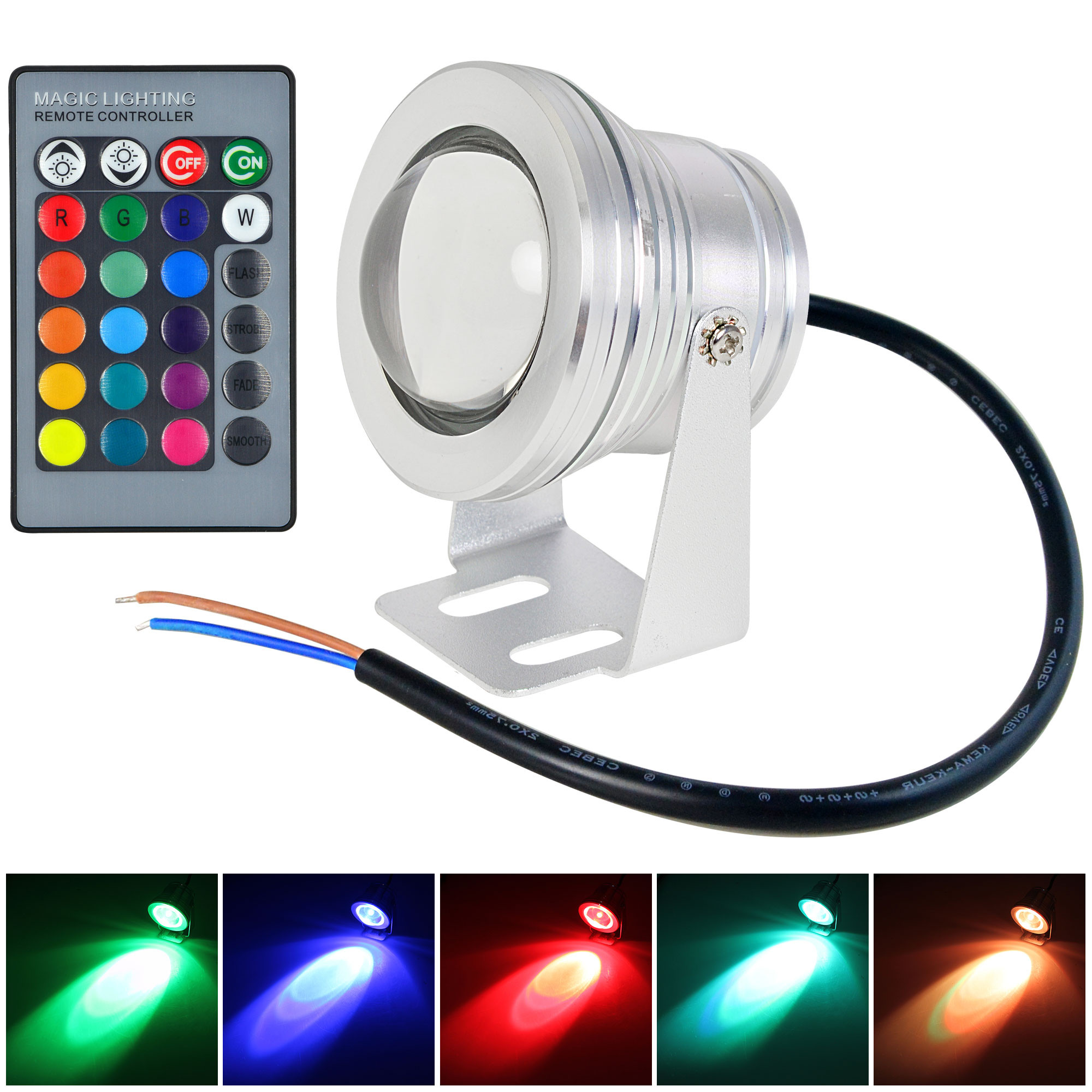 MENGS® 10W Underwater Pool/Fountain LED RGB Light Waterproof IP67 Spot Light + IR Remot