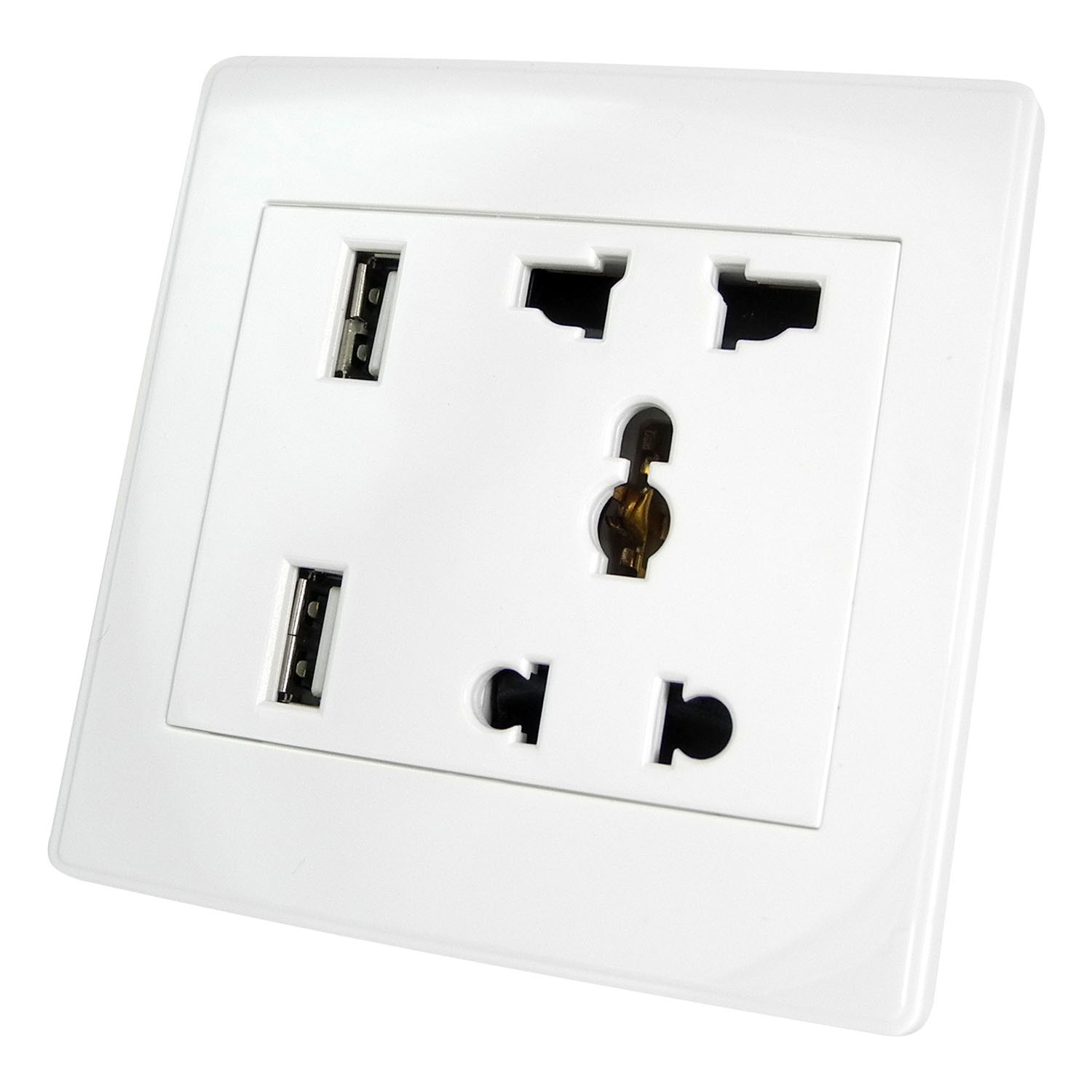 MENGS® Universal Wall Mains Socket With Two USB Chargers (Mains Socket: AC 110V-250V / 13A, USB Charger: DC 5V / 1000mA)