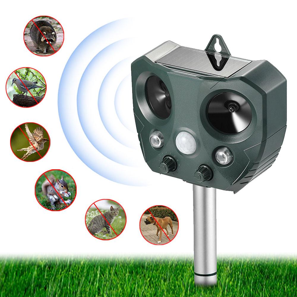 MENGS® Animal Repellent Outdoor Ultrasonic Animal Repeller, Solar Animal Repeller with Motion Sensor, IP44 Pest Repeller with 2 Speakers Repels Deer Rabbit