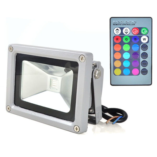MENGS® 10W RGB LED flood light with aluminum alloy coat and glass cover outdoor lamp with IR remote controller