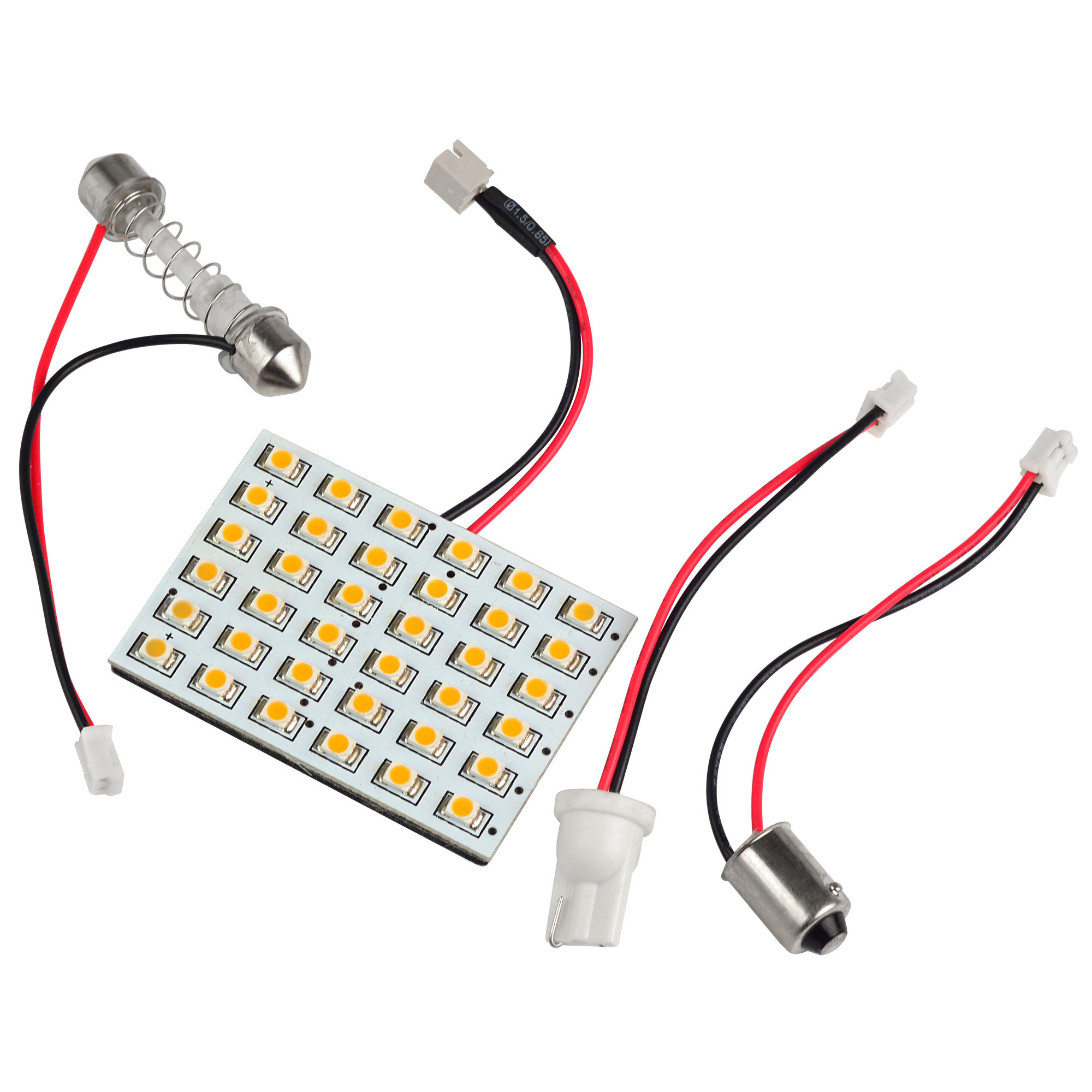 MENGS® T10 BA9S SV8.5 LED Car Interior Light Panel with 3 Adapters 36x 3528 SMD LED Bulb Lamp DC 12V In Warm White
