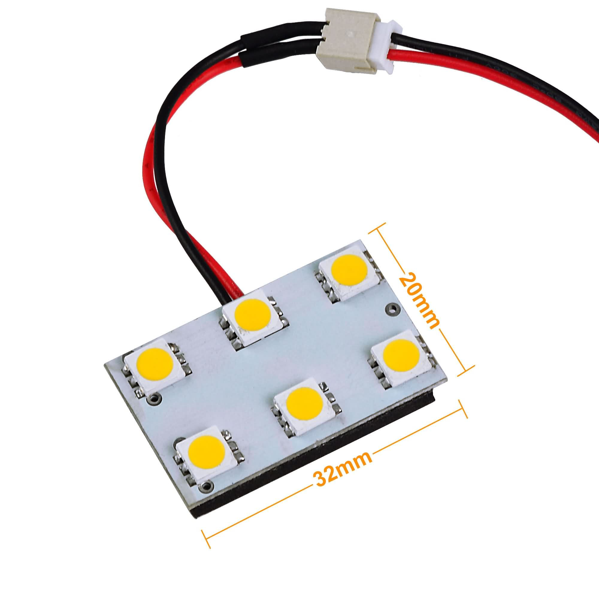 mengs t10 ba9s sv8 5 led car interior light panel with 3 adapters 6x 5050 smd dc 12v in cool. Black Bedroom Furniture Sets. Home Design Ideas
