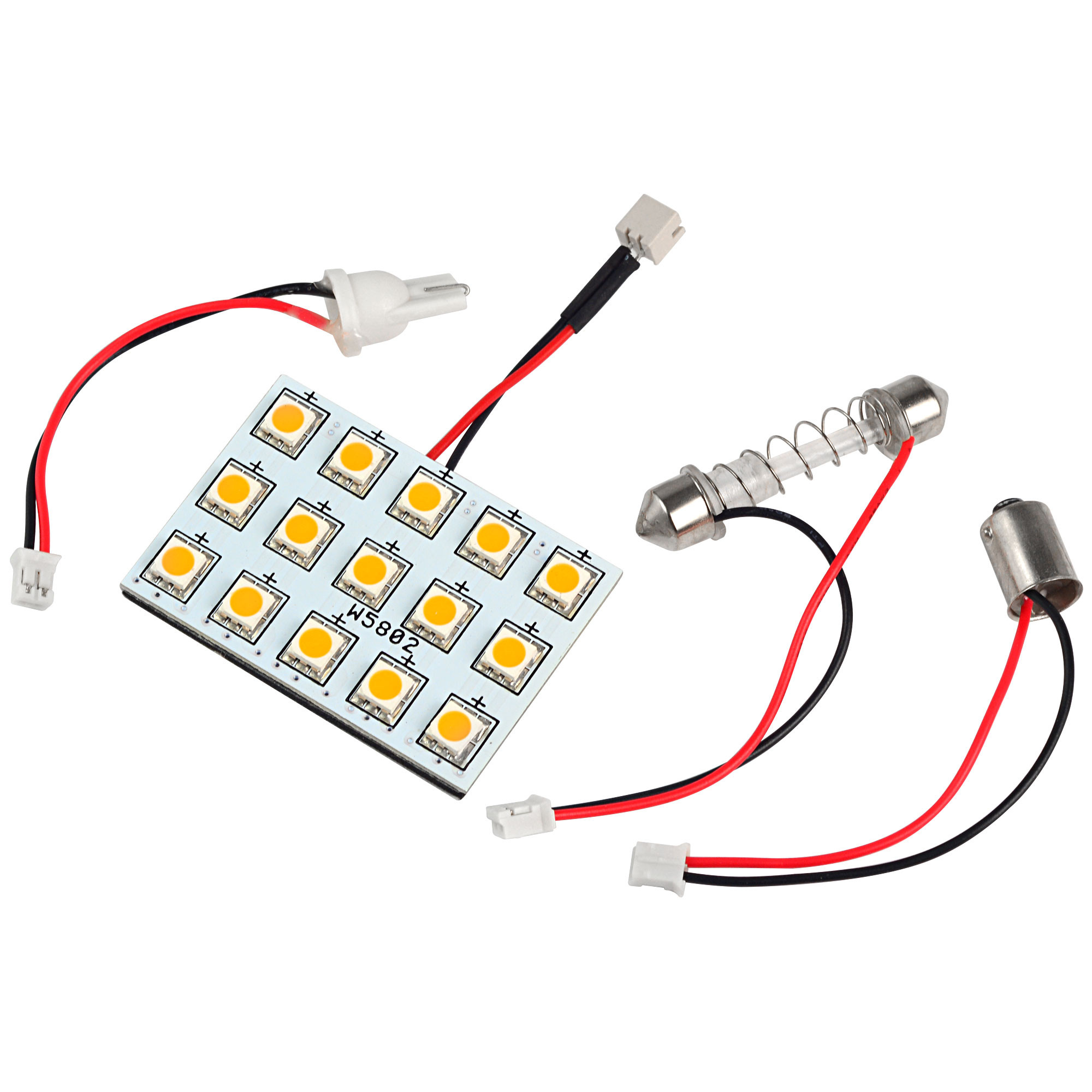 MENGS® T10 BA9S SV8.5 LED Car Light with 3 Adapters 15x 5050 SMD LED Bulb Lamp DC 12V In Warm White