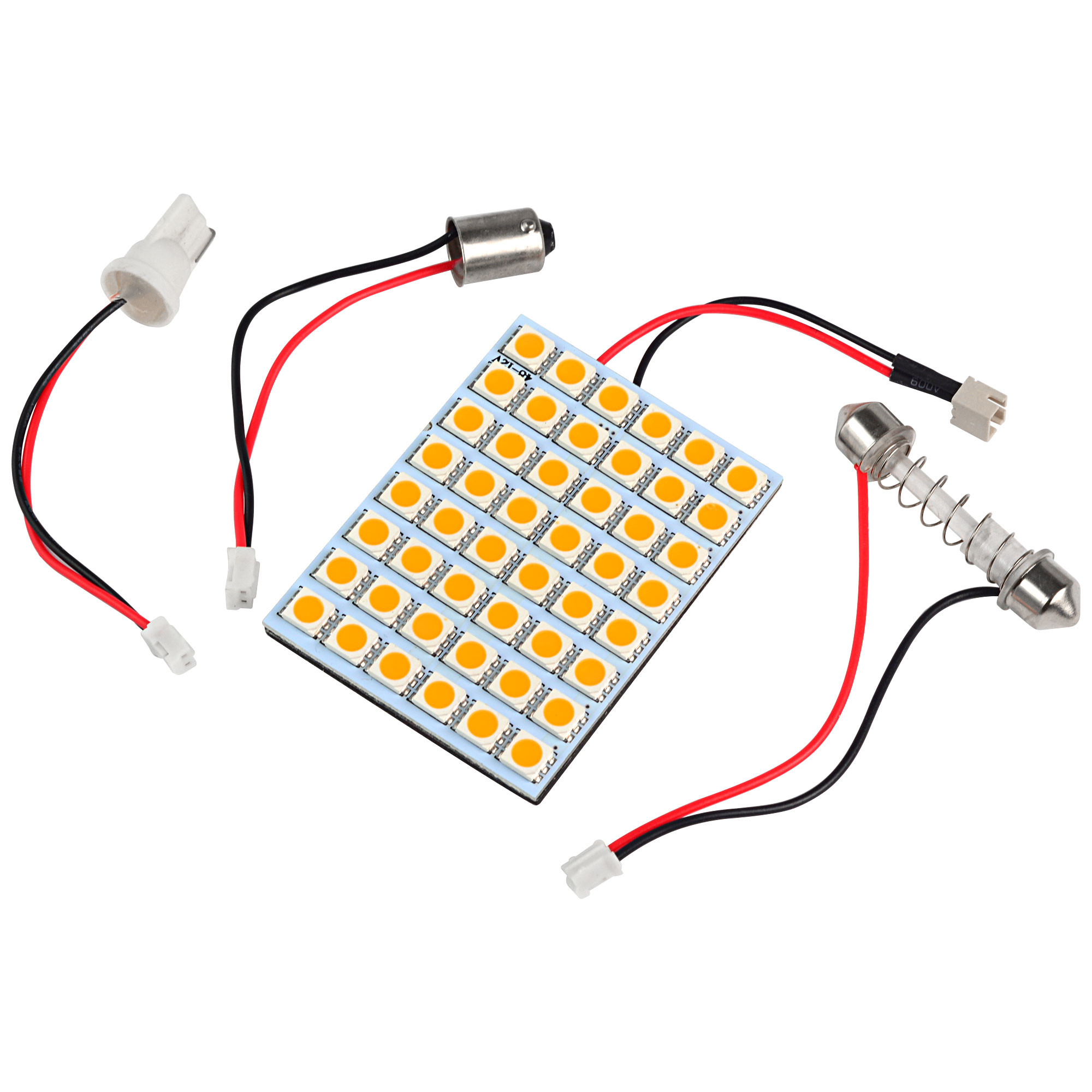 MENGS® T10 BA9S SV8.5 LED Car Light with 3 Adapters 48x 5050 SMD LED Bulb Lamp DC 12V In Cool White