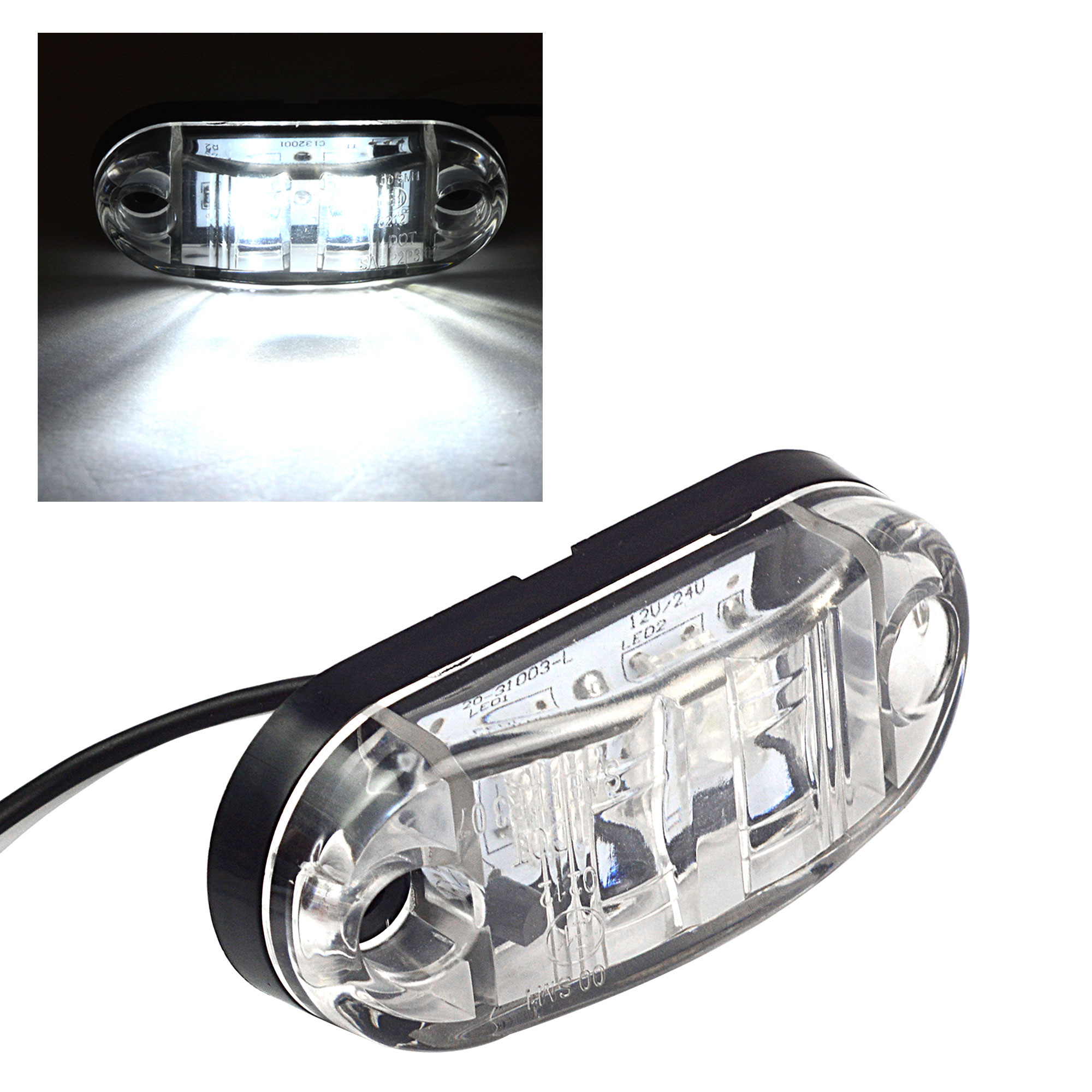 MENGS 1Pair 05W Waterproof LED Side Marker Light for most Buses