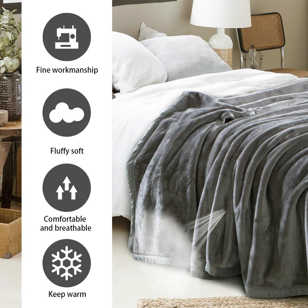 MENGS® Fluffy Throw Blankets Double/Twin Size Silver Grey Super Soft Fleece Bedspread Blanket Flannel Microfiber Sofa Bed Blankets 150x200cm Double/Twin