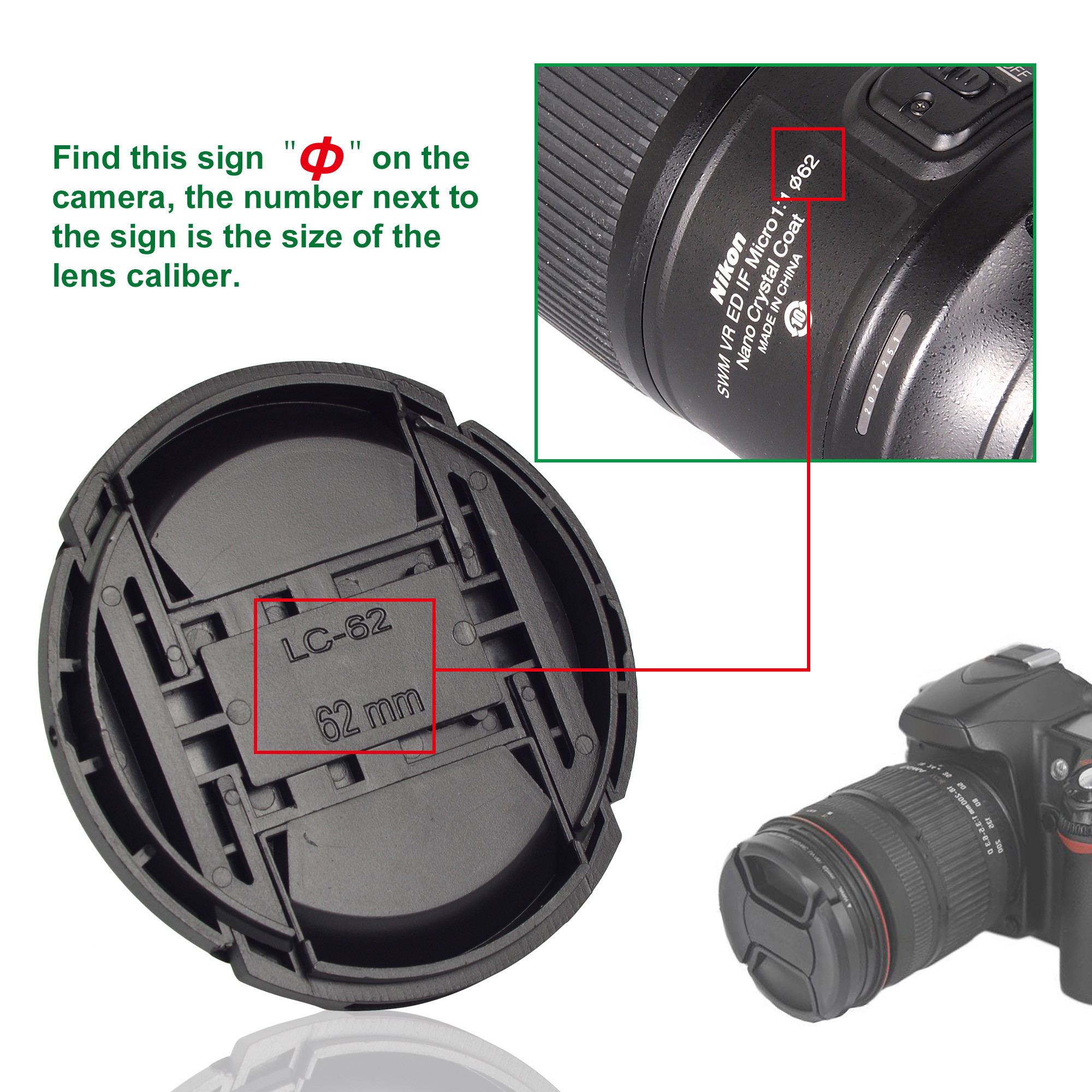 MENGSR 62mm Snap On Lens Cap Cover With String Leash For Nikon Canon Sony