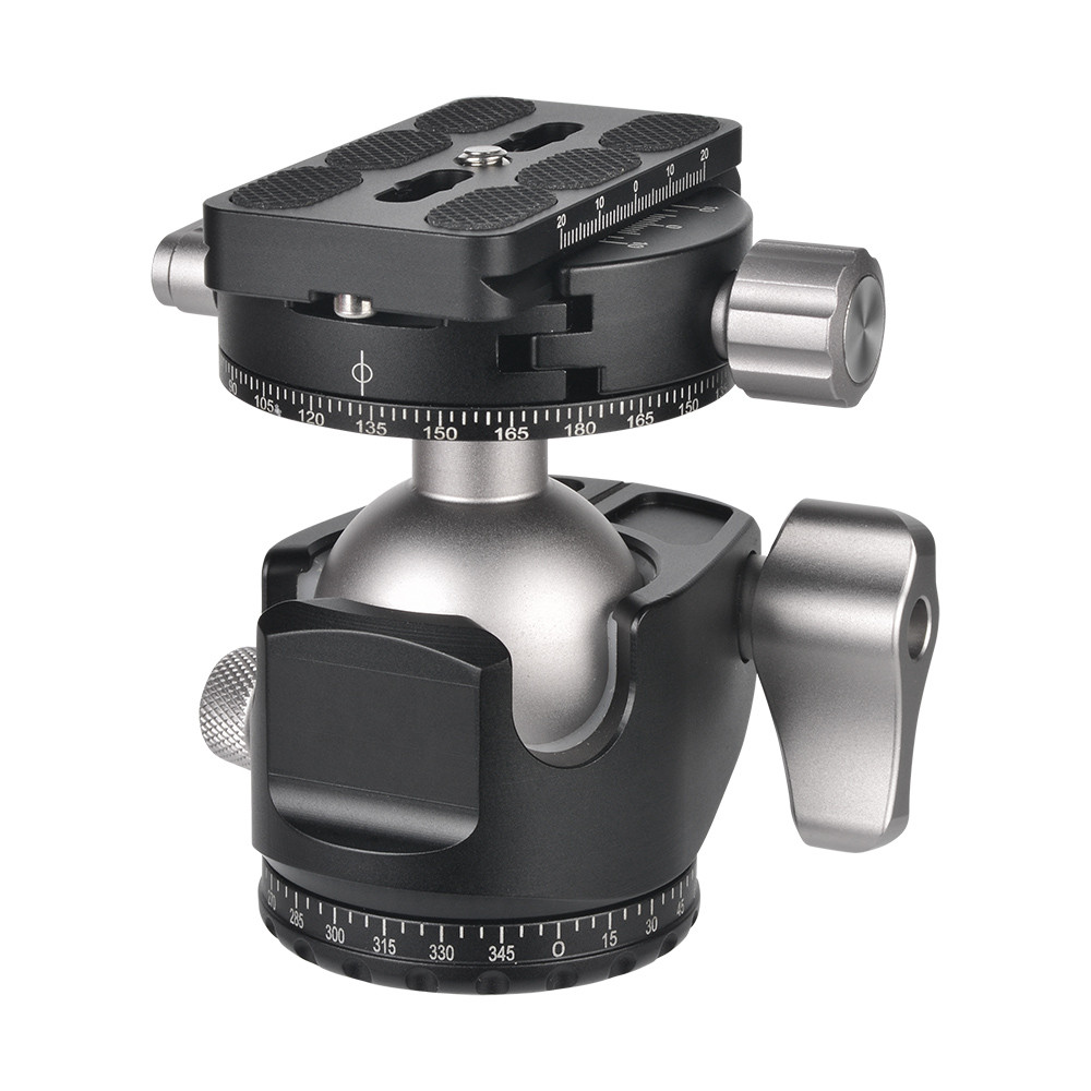 MENGS® D-40 Low-Profile Ball Head + Panoramic Clamp + Quick Release Plate With Aluminum Alloy For Telephoto Zoom Lens Mirrorless Camera DSLR Camera and Tripod Head