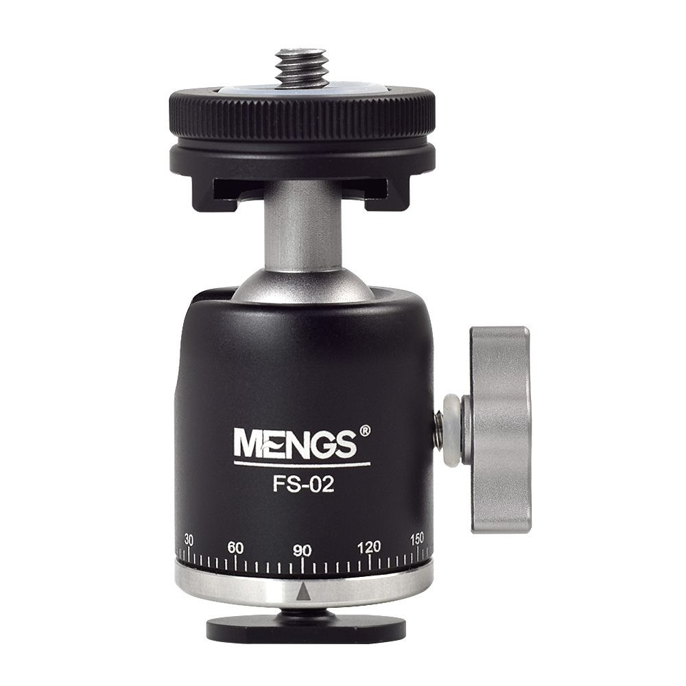 MENGS® FS-02 Multi-Function Ball Head with Hotshoe & Coldshoe Adapter and Aluminum Alloy Material For DSLR camera microphones flashlights speed lights LED lights monitors magic arms