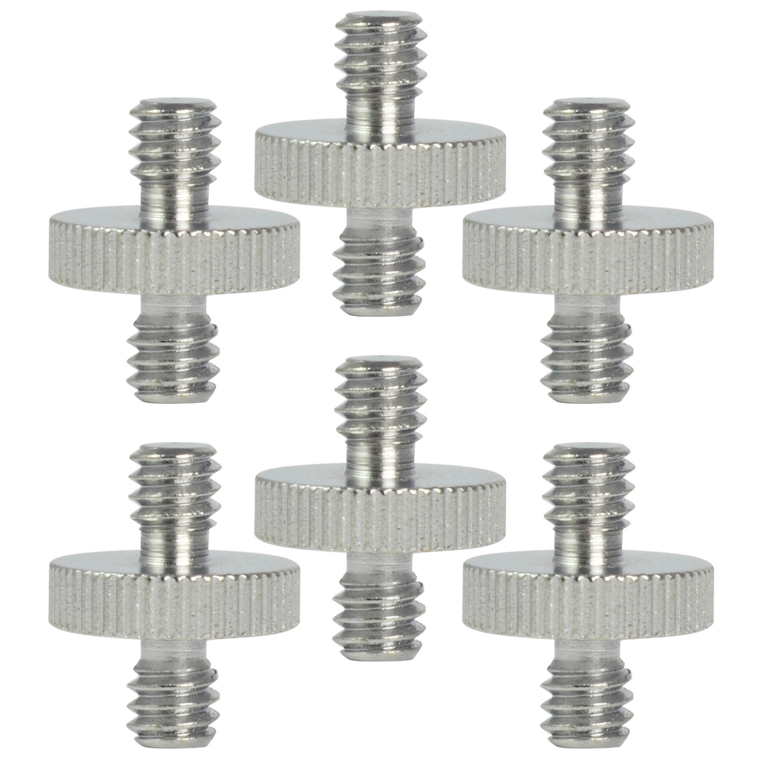 "MENGS® 6Pcs SR-03 1/4"" to 1/4"" Male Threaded Steel Screw Adapter (Ø16mm x H20mm) for Tripod Monopod Quick Release Plate Camera"