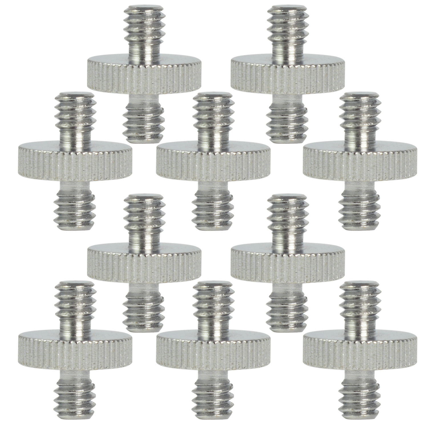 "MENGS® 10Pcs SR-03 1/4"" to 1/4"" Male Threaded Steel Screw Adapter (Ø16mm x H20mm) for Tripod Monopod Quick Release Plate Camera"
