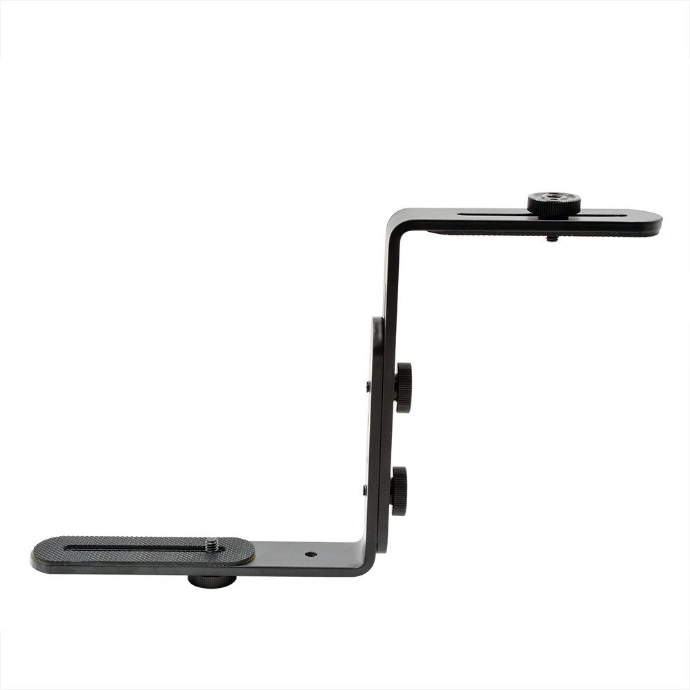 """MENGS® Metal Double L-Shaped Flash Bracket with 1/4"""" For DSLR Camera Speedlite Flash Microphone LCD Monitor"""