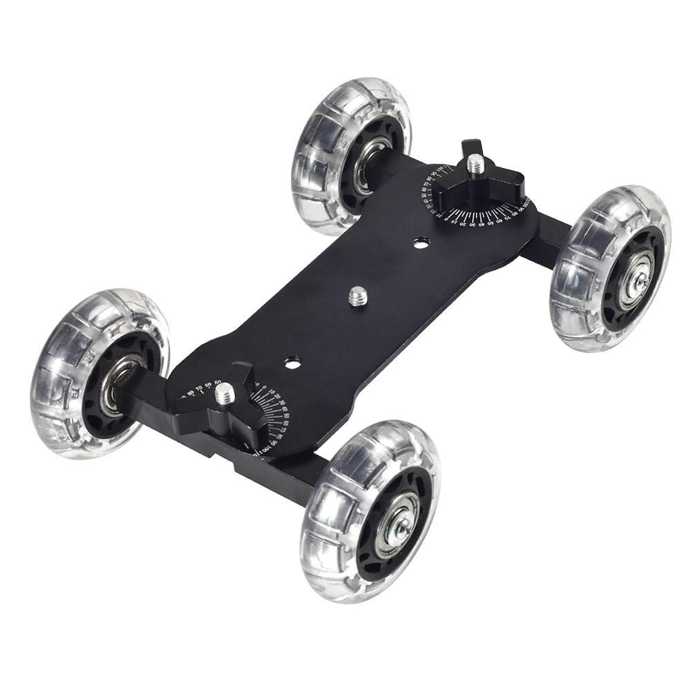MENGS® 4-Wheel Desktop Tabletop Dolly Car Truck Skater Slider For DSLR Video Camera - Black