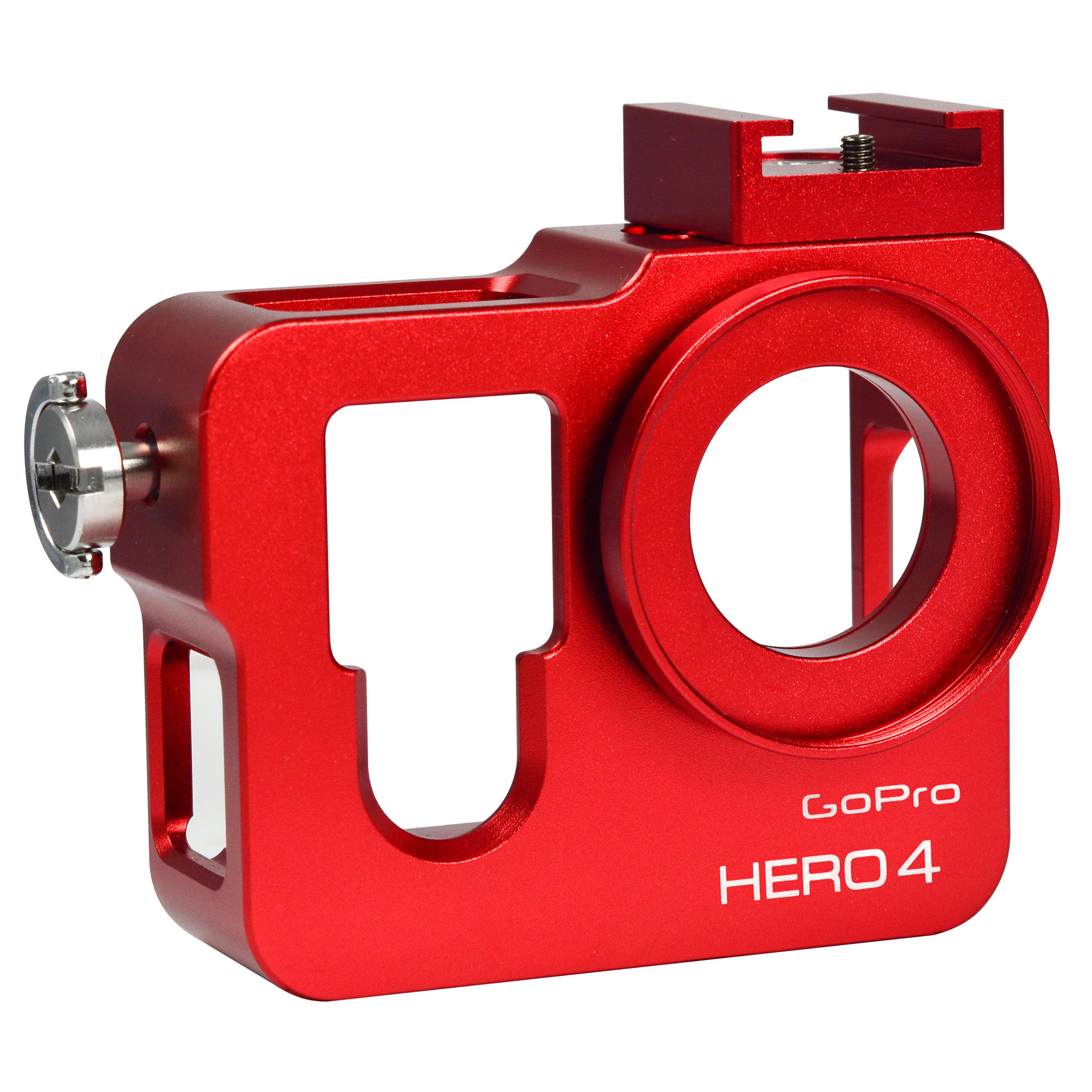 MENGS® Aluminium Housing Case For Gopro Hero 4 with Filter and Lens Cap - Red