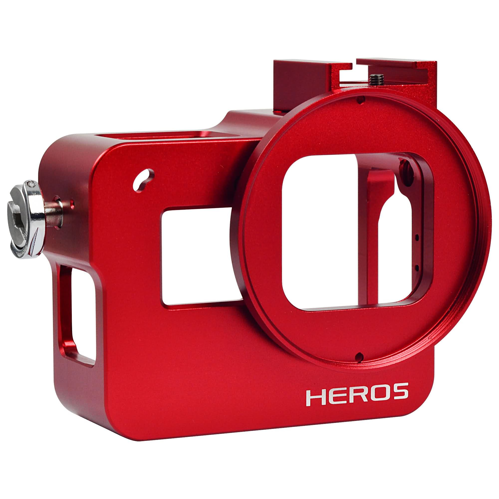 MENGS® Aluminium Alloy Protective Frame Housing Case Without back cover + 52mm UV filter and Lens Cap For Gopro Hero 5 - Red
