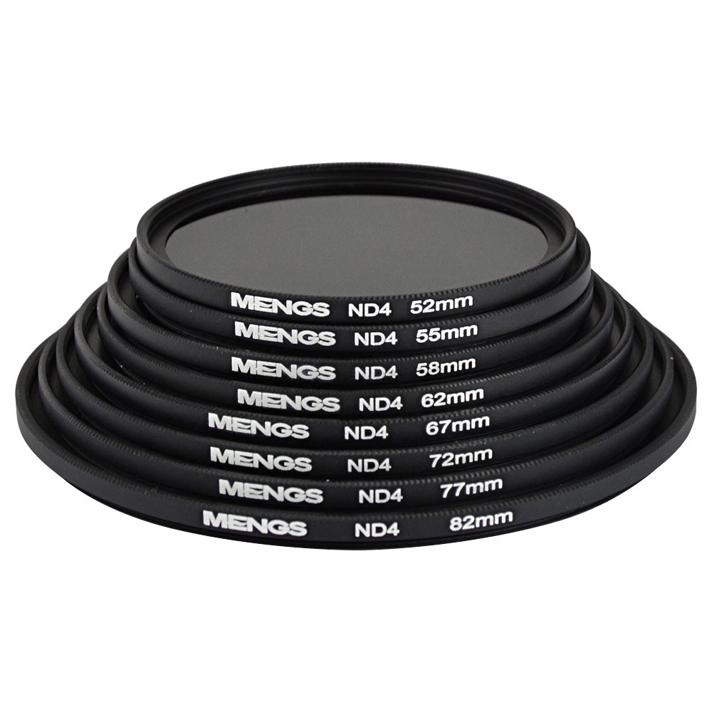MENGS® 52mm / 55mm / 58mm / 62mm / 67mm / 72mm / 77mm / 82mm ND4 Neutral Density Filter With Aluminum Frame for Canon Nikon Sony Fuji Pentax Olympus etc DSLR Camera