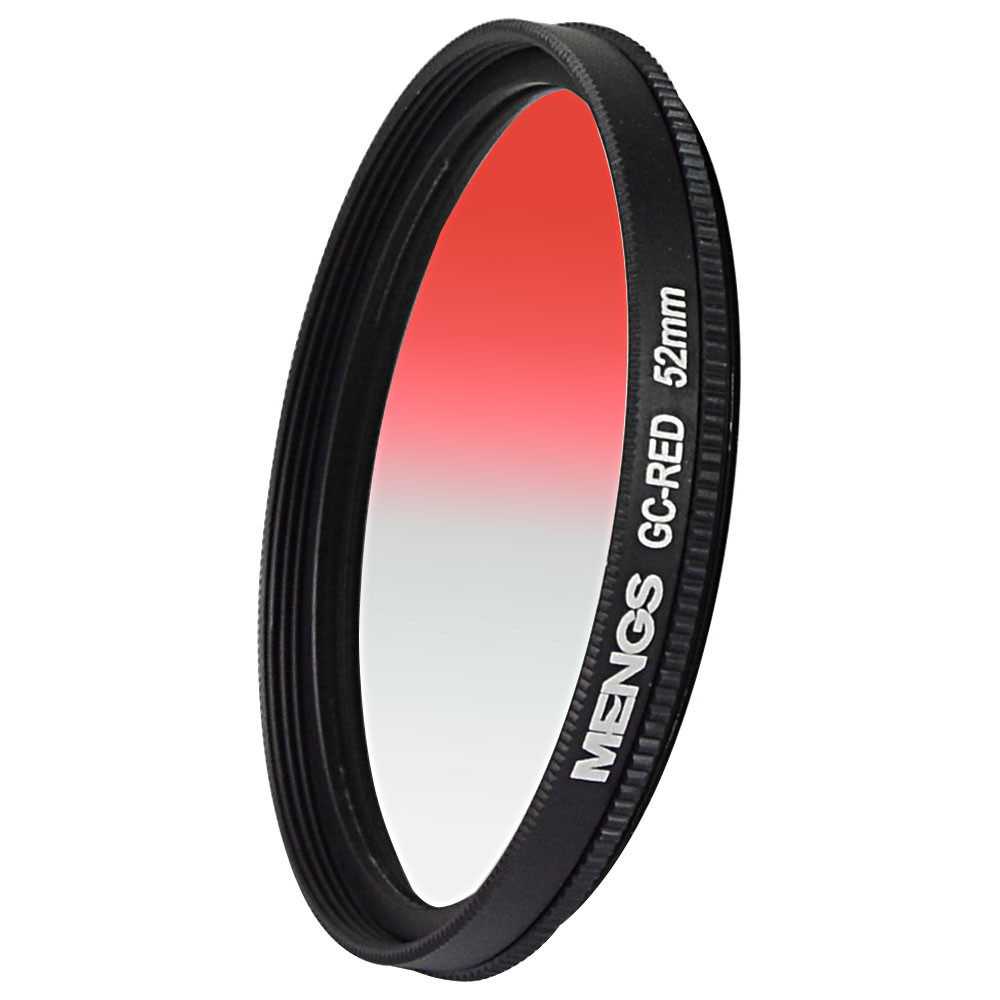 MENGS® 52mm Graduated RED Lens Filter With Aluminum Frame for  Canon Nikon Sony Fuji Pentax Olympus etc digital and DSLR camera