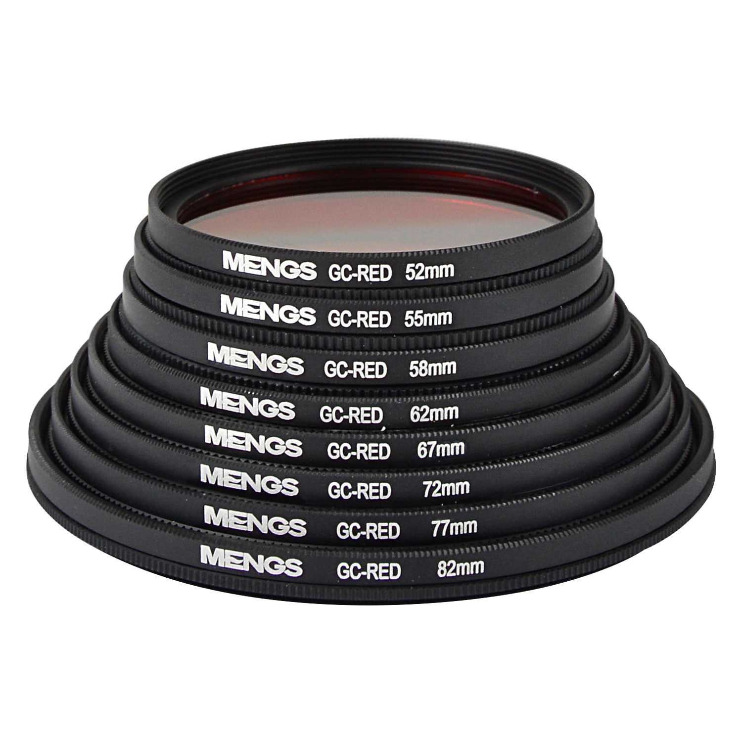 MENGS® 52mm / 55mm / 58mm / 62mm / 67mm / 72mm / 77mm / 82mm Graduated RED Lens Filter With Aluminum Frame for Canon Nikon Sony Fuji Pentax Olympus etc digital and DSLR camera