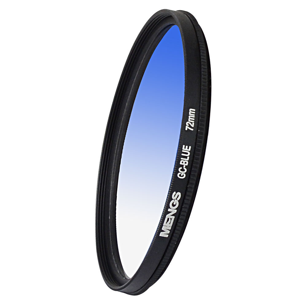 MENGS® 72mm Graduated BLUE Lens Filter With Aluminum Frame for Canon Nikon Sony Fuji Pentax Olympus etc digital camera