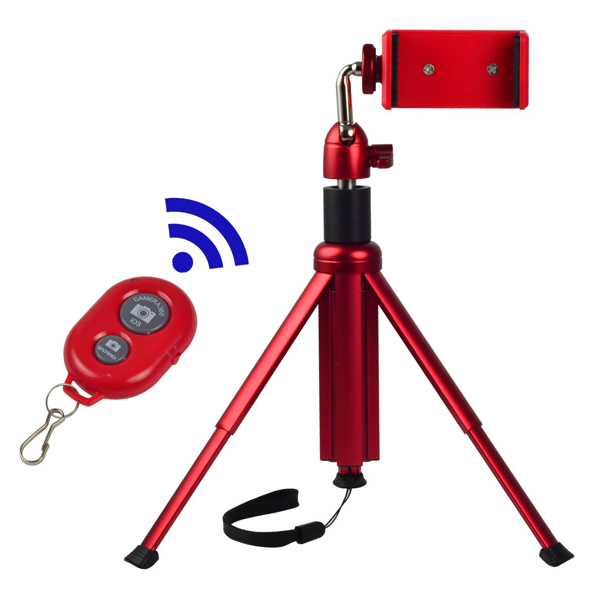 MENGS® M602A 3 in 1 Bluetooth remote control selfie stick/tabletop tripod/ monopod with Aluminum Alloy Ball Head for iPhone 6s Plus Samsung Galary edge Huawei Xiaomi Gopro Hero - Red