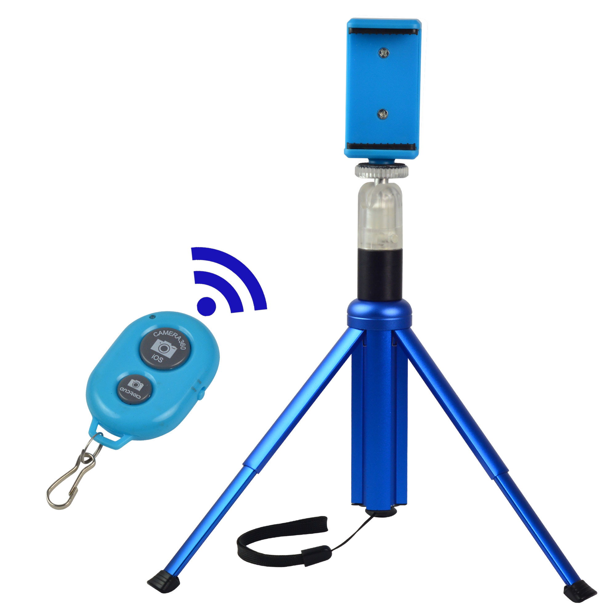 MENGS® M602B 3 in 1 Bluetooth remote control selfie stick/tabletop tripod/ monopod with plastic Ball Head for iPhone 6s Plus Samsung Galary edge Huawei Xiaomi Gopro Hero - Blue